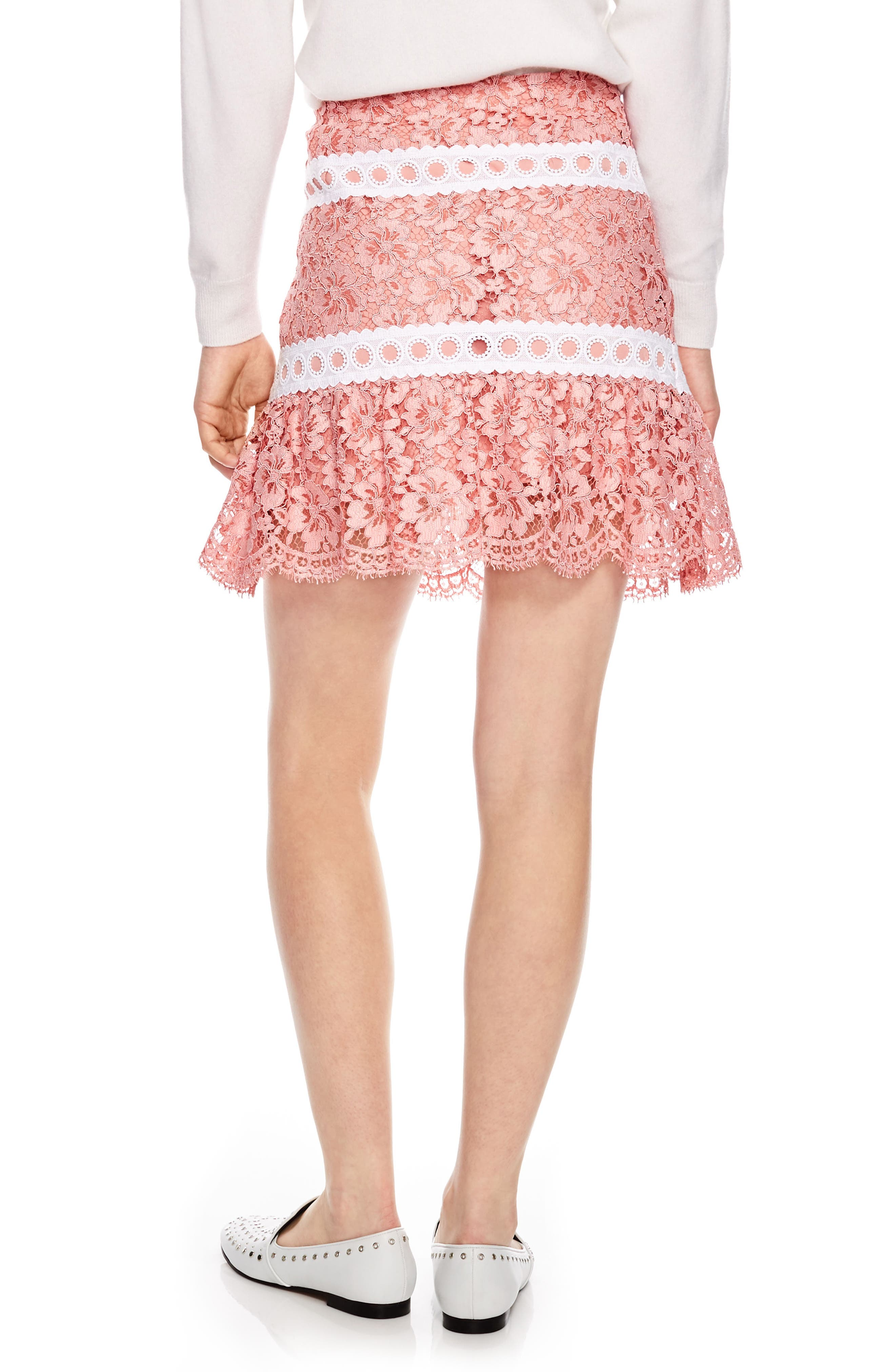 Rose Lace & Eyelet Skirt,                             Alternate thumbnail 2, color,                             Pink