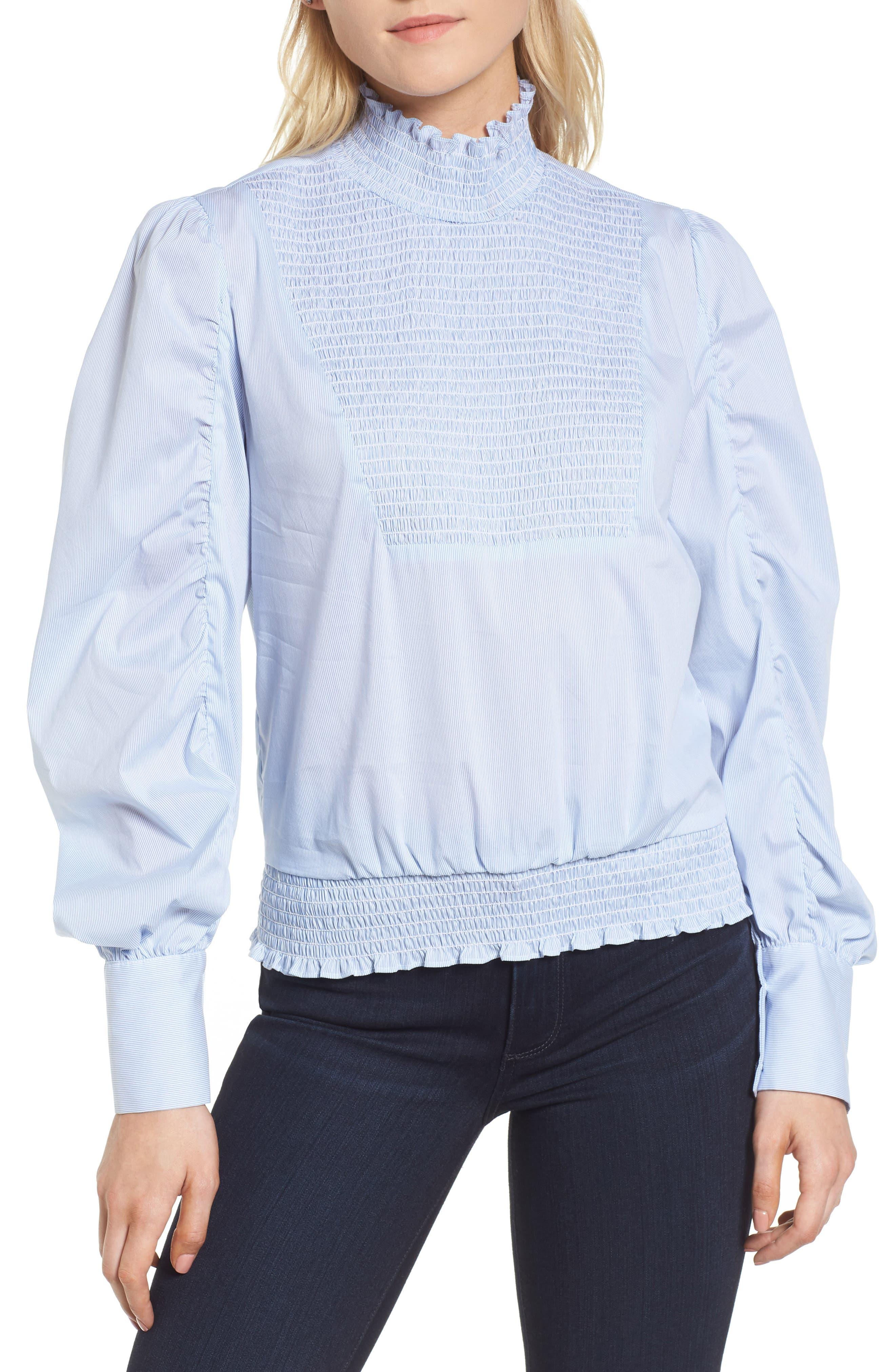Smocked Puff Sleeve Poplin Top,                         Main,                         color, Blue- White Pinstripe