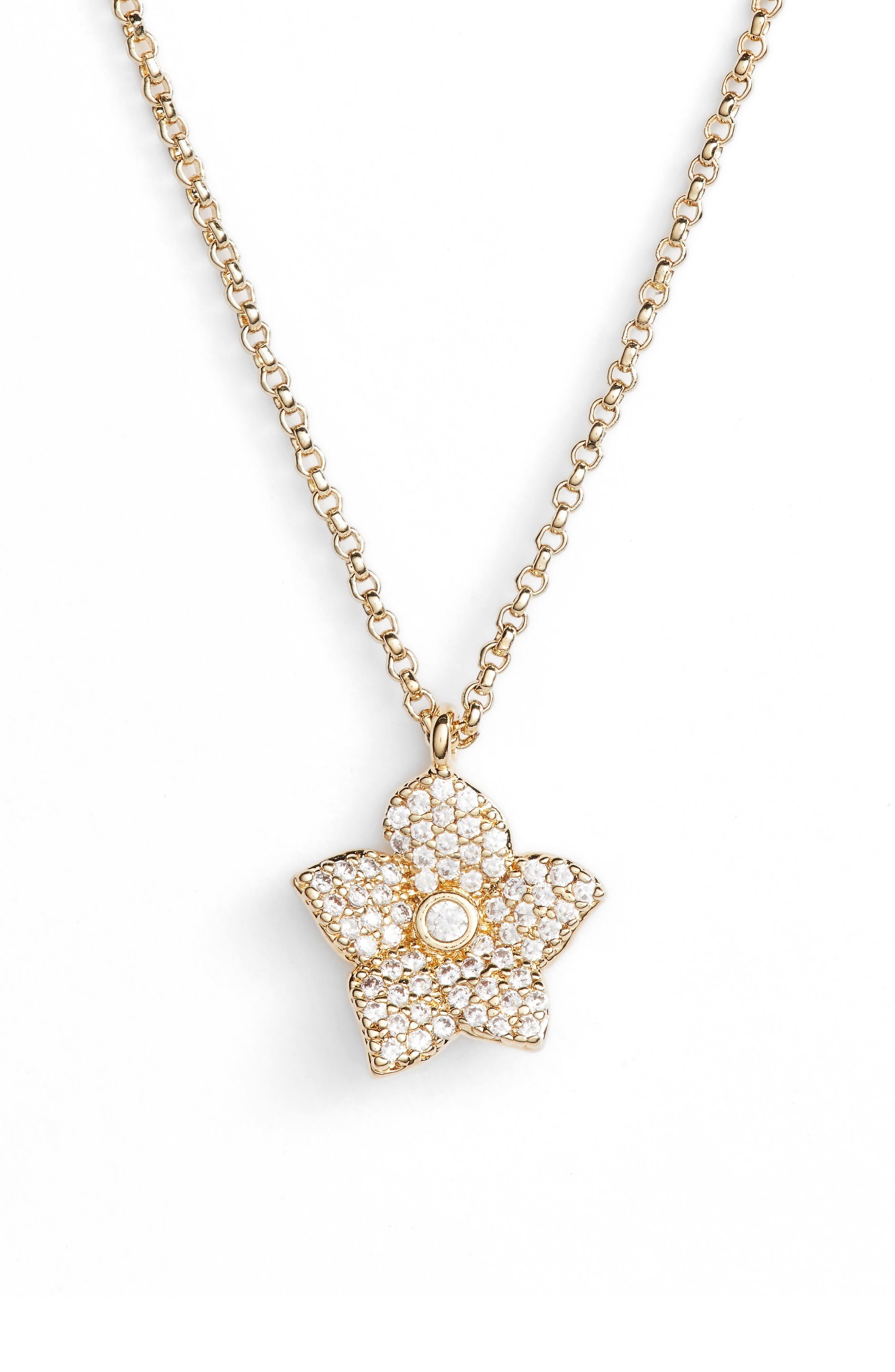 blooming pavé mini pendant necklace,                         Main,                         color, Gold