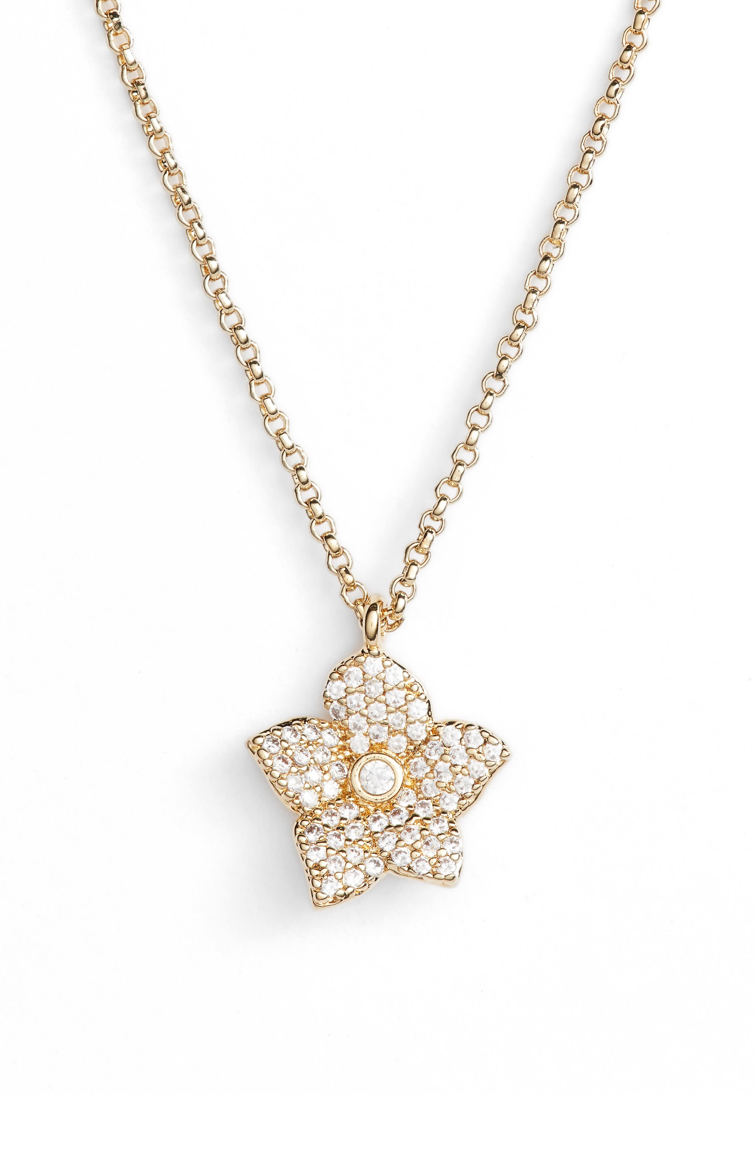 kate spade new york blooming pavé mini pendant necklace