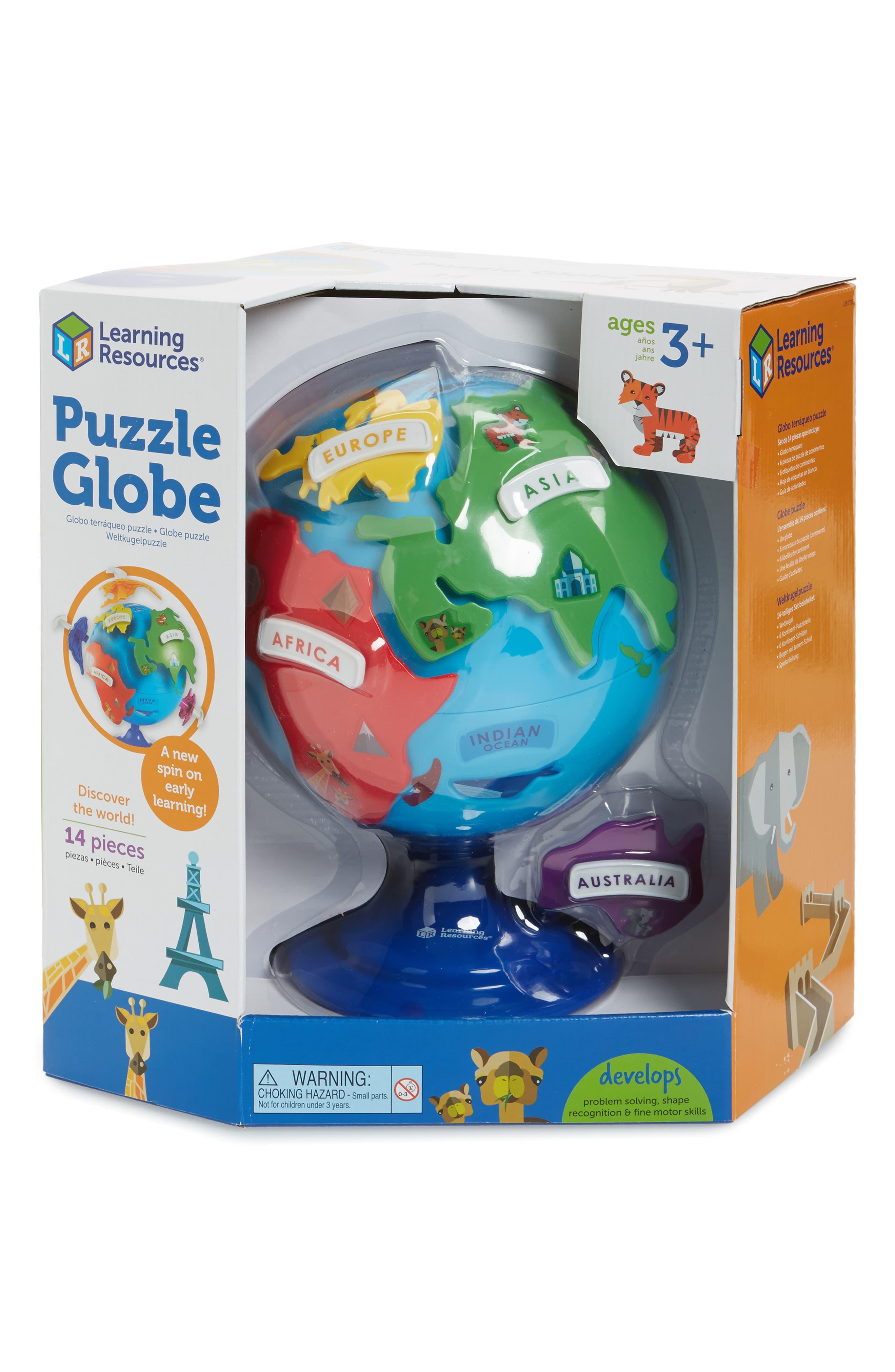 14-Piece Puzzle Globe 3D Puzzle,                         Main,                         color, Blue