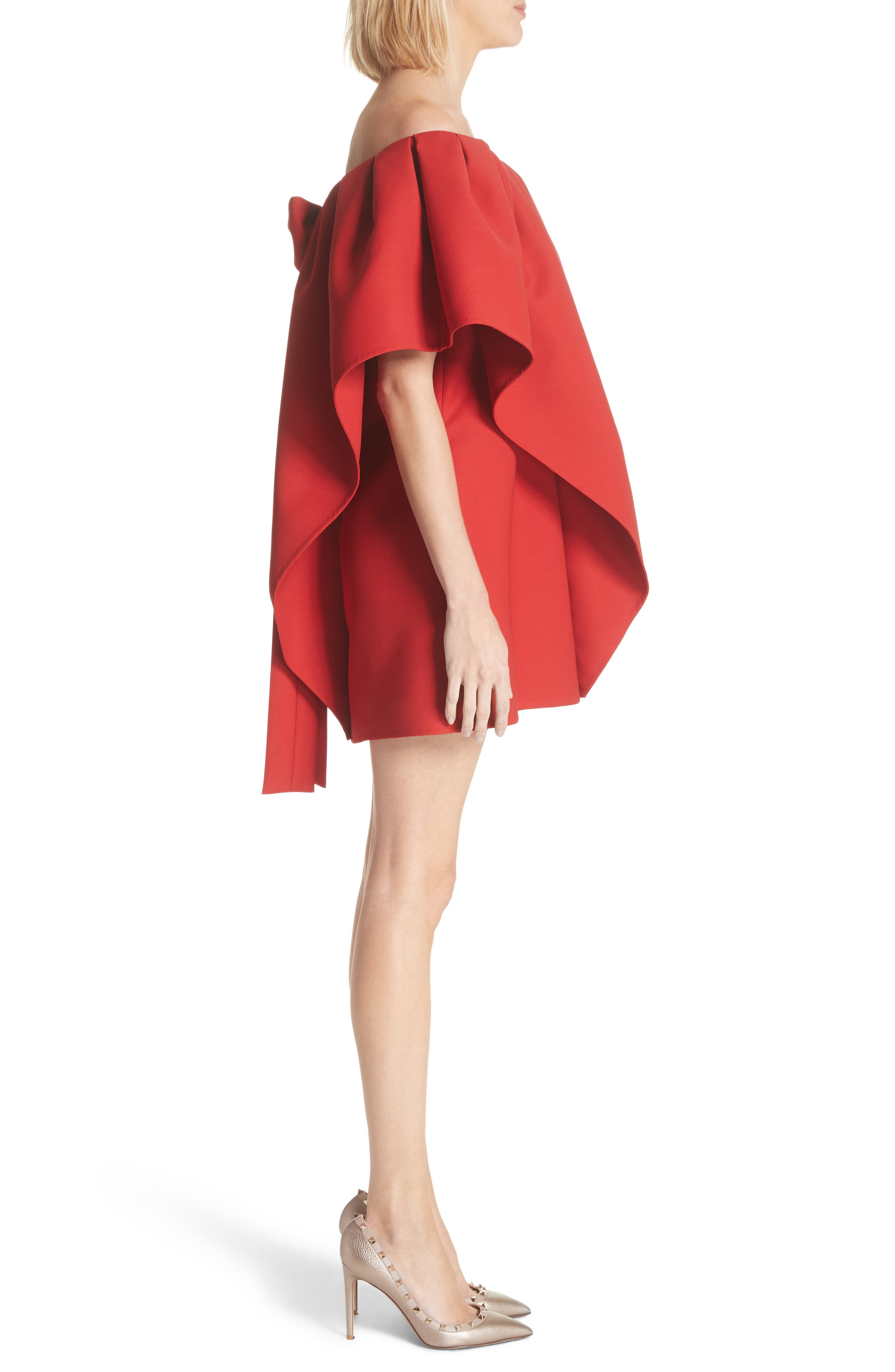 Very Valentino Off the Shoulder Dress,                             Alternate thumbnail 3, color,                             Red