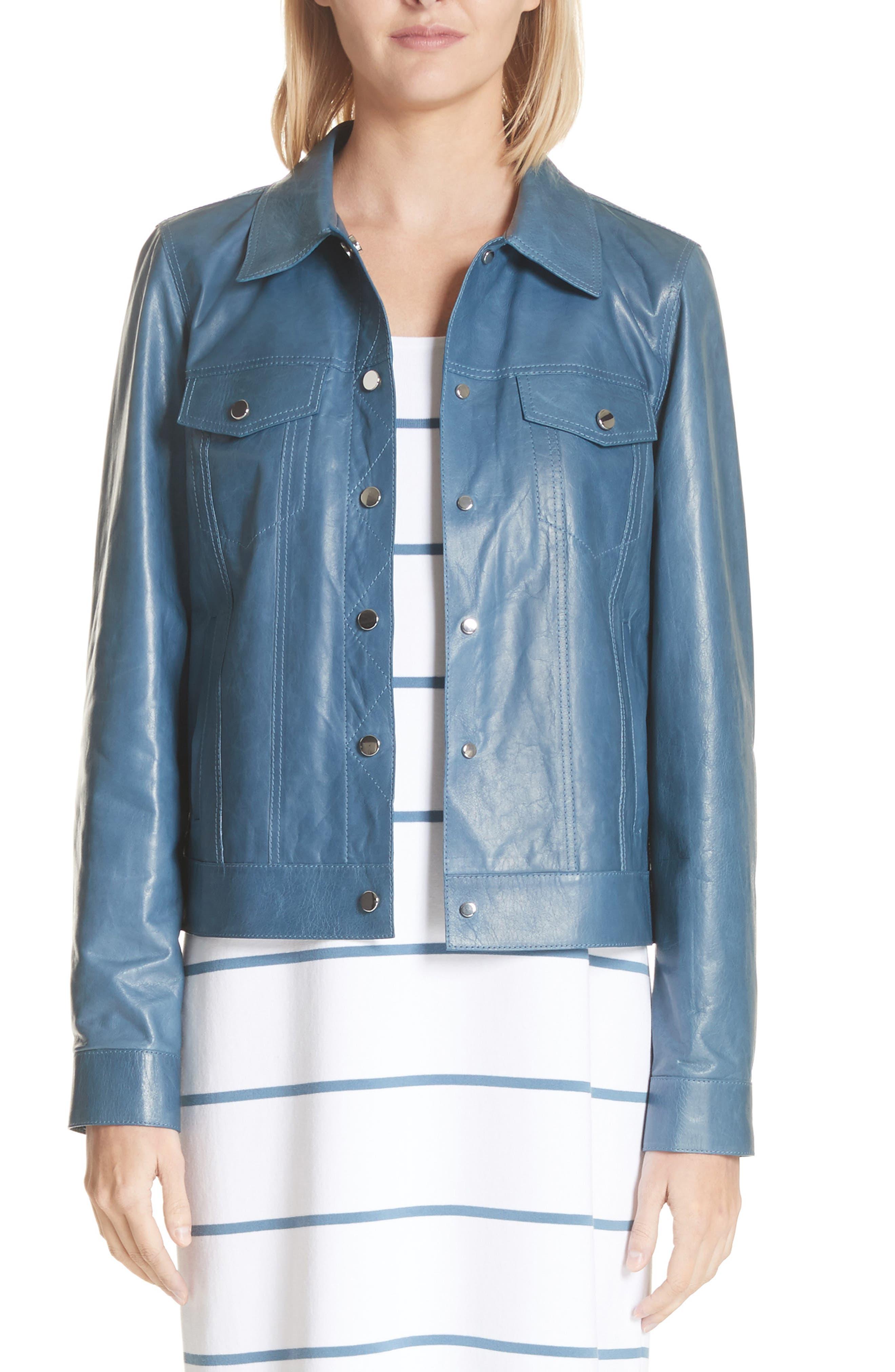 Destiny Leather Jacket,                             Main thumbnail 1, color,                             Placid Blue
