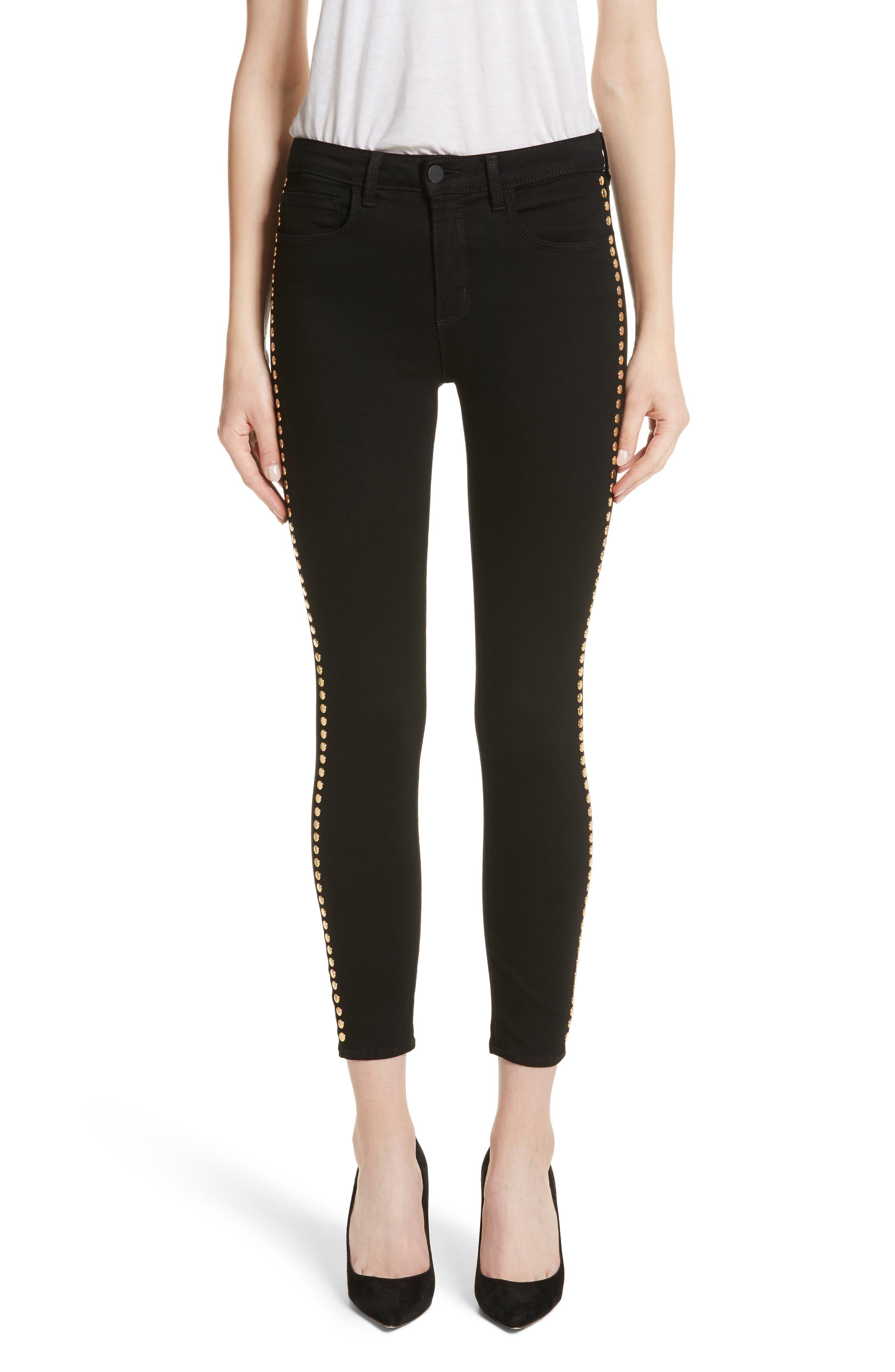 L'AGENCE Margot Studded Ankle Skinny Jeans (Noir)