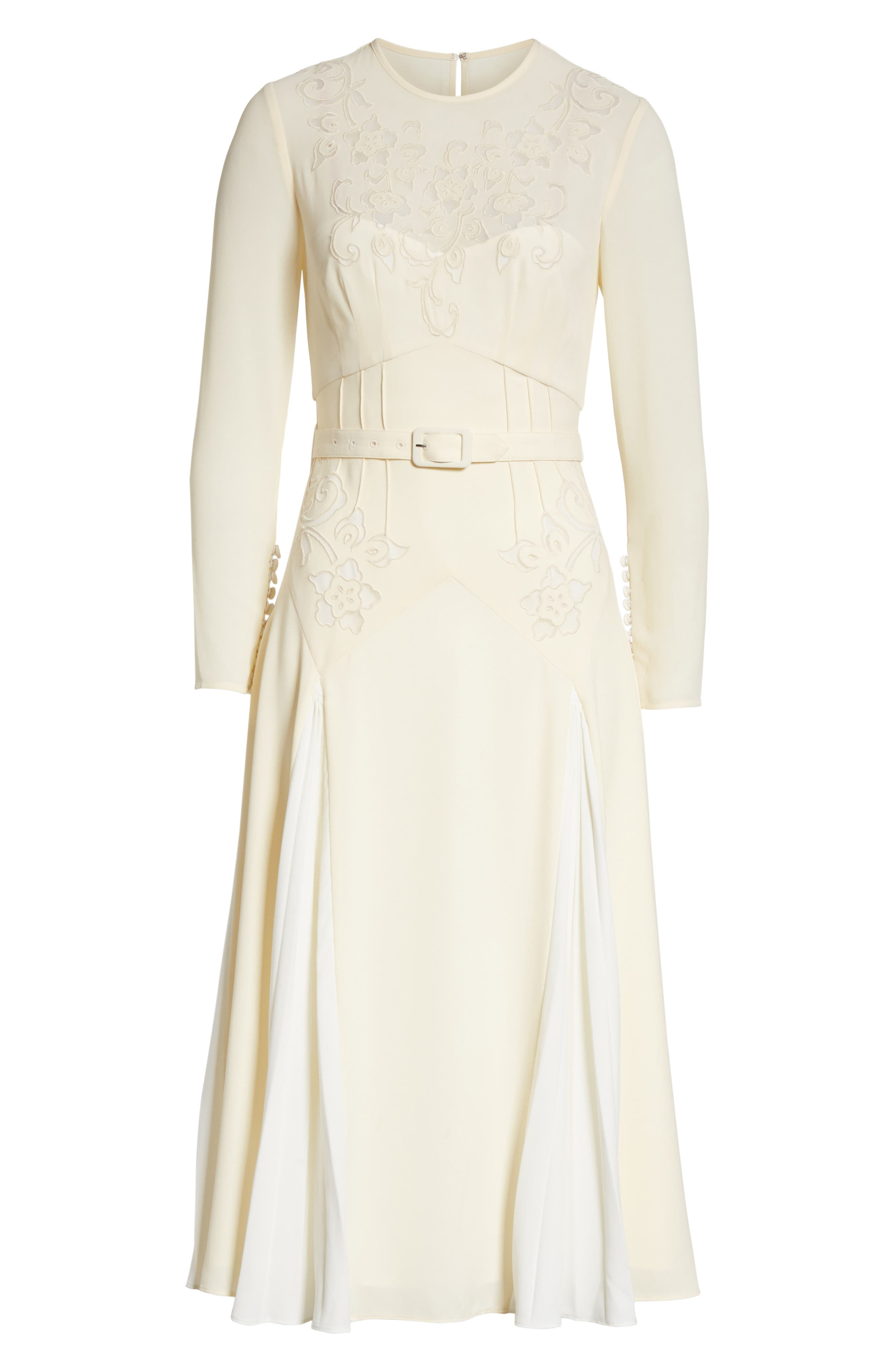 Embroidered Belted Midi Dress,                             Alternate thumbnail 6, color,                             Ivory