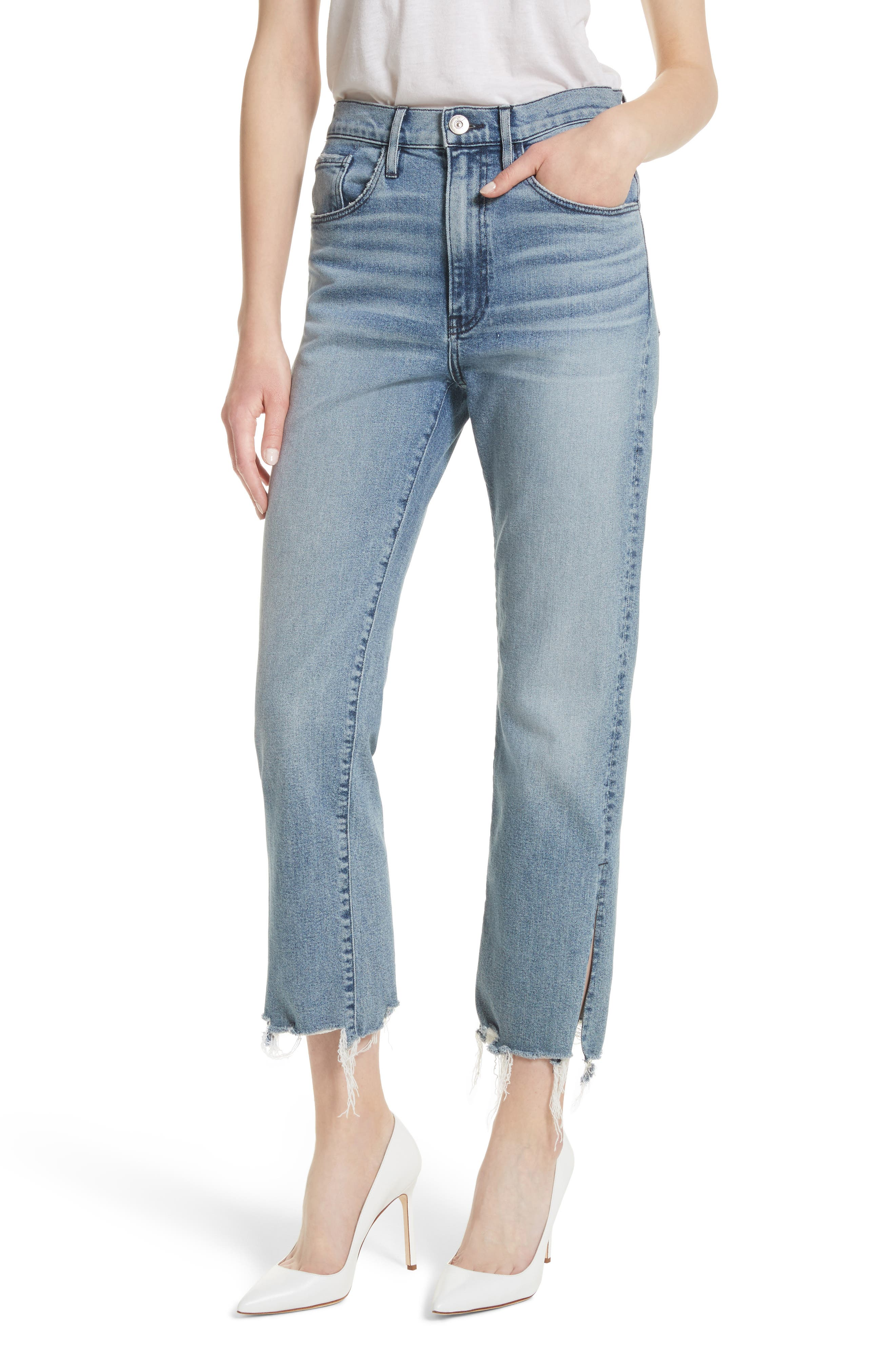 W3 Higher Ground Side Split Ankle Straight Leg Jeans,                         Main,                         color, Florian