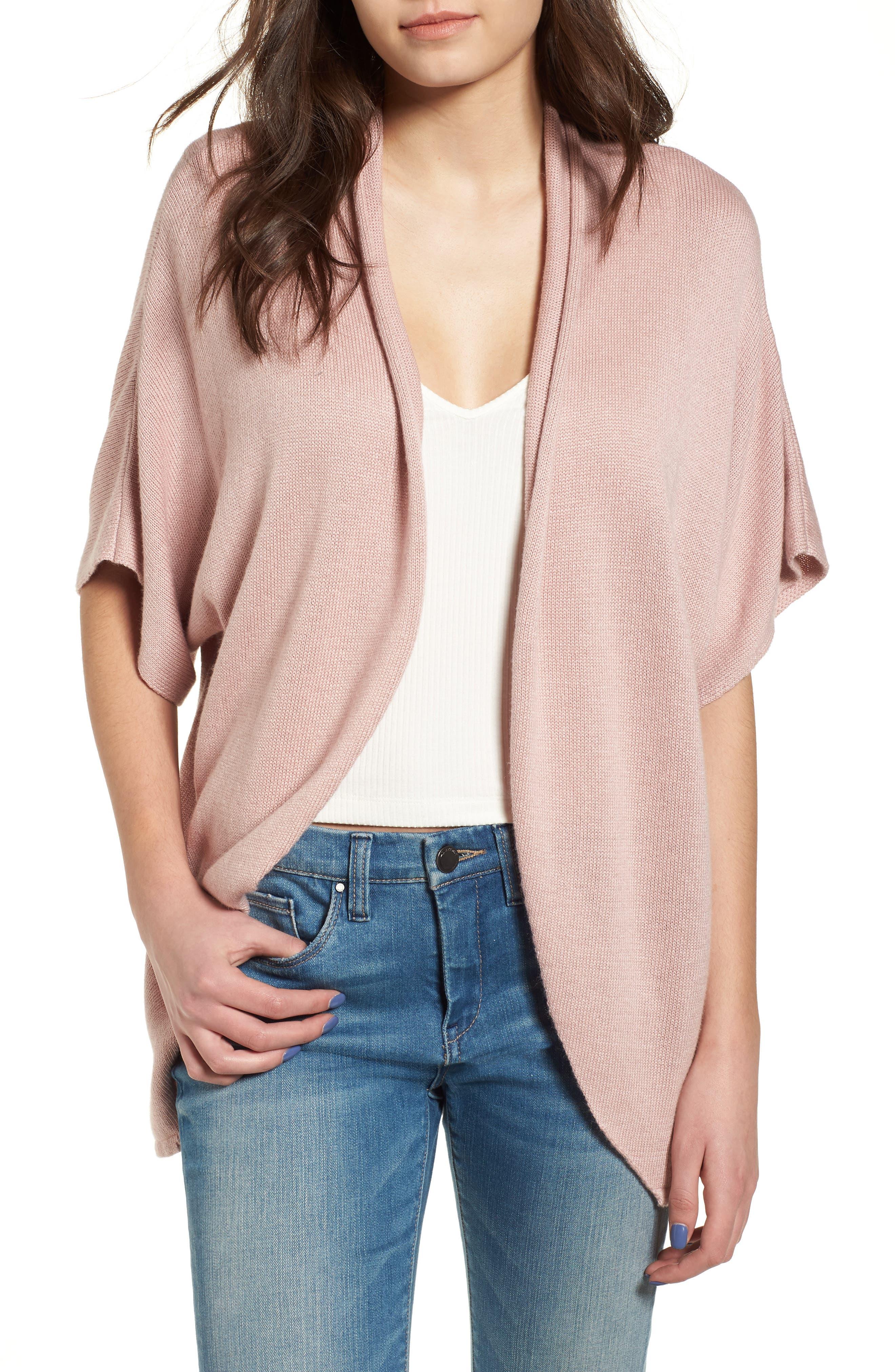 Dolman Sleeve Cardigan, Main, color, Pink Adobe
