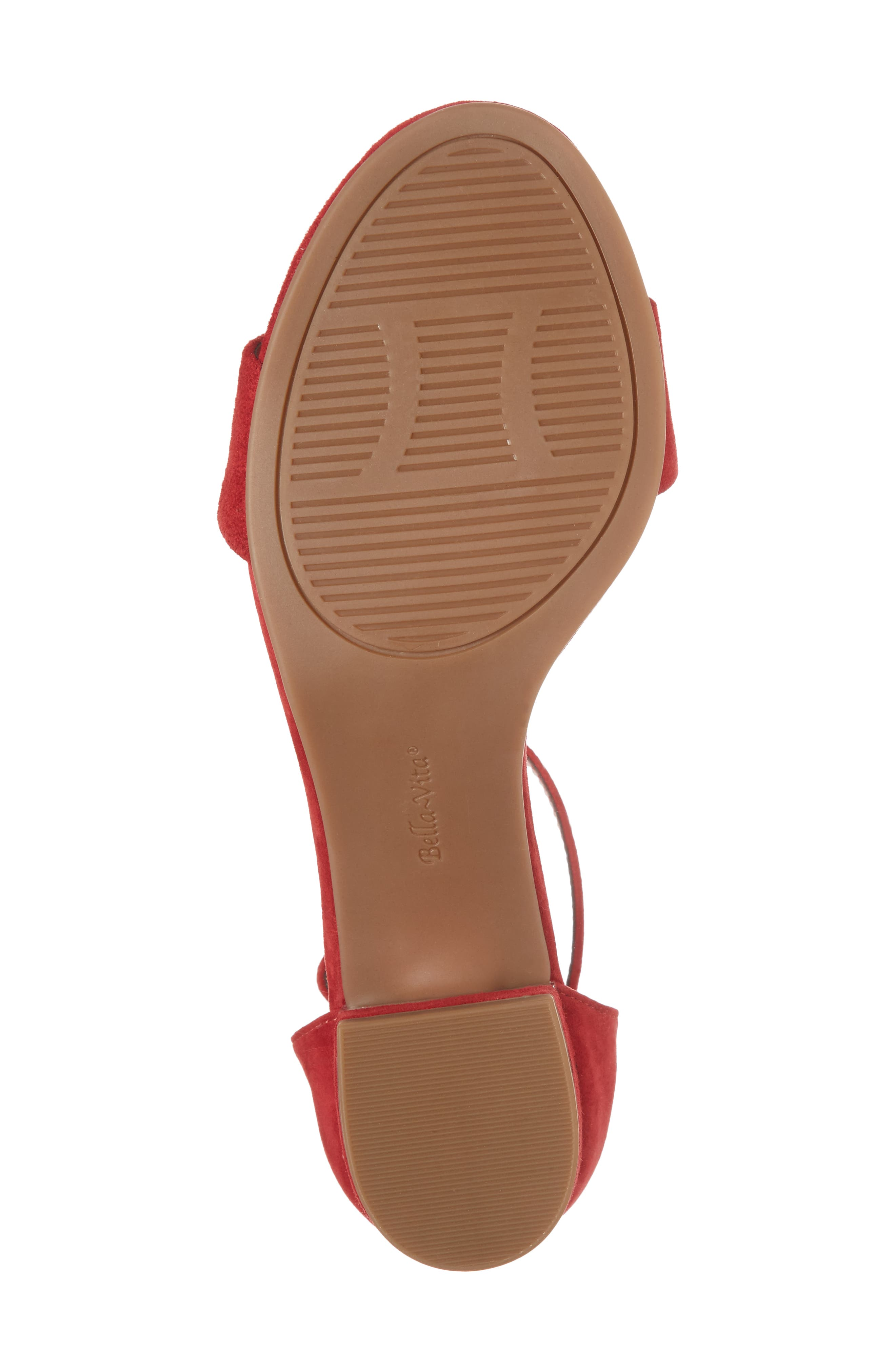 Fitz Block Heel Sandal,                             Alternate thumbnail 6, color,                             Red Suede