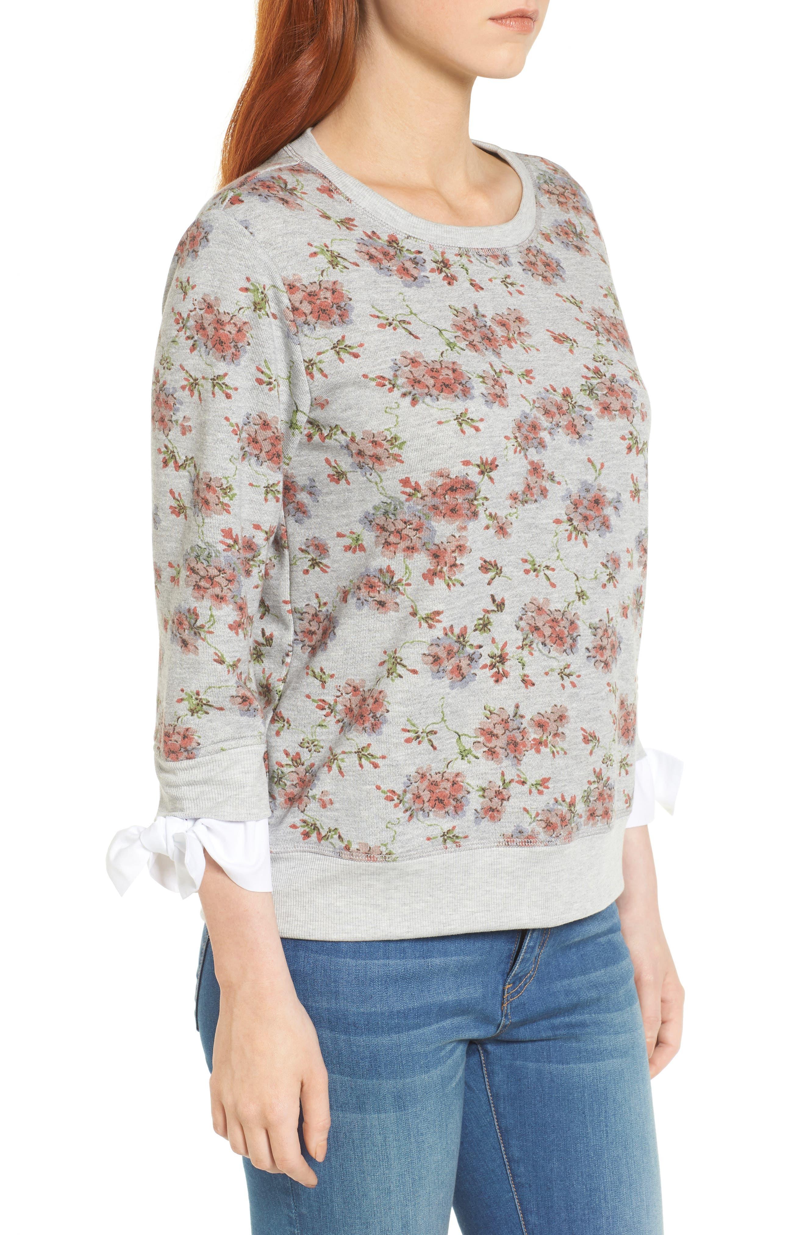 Poplin Cuff Sweatshirt,                             Alternate thumbnail 3, color,                             Grey Blush Floral W/ White