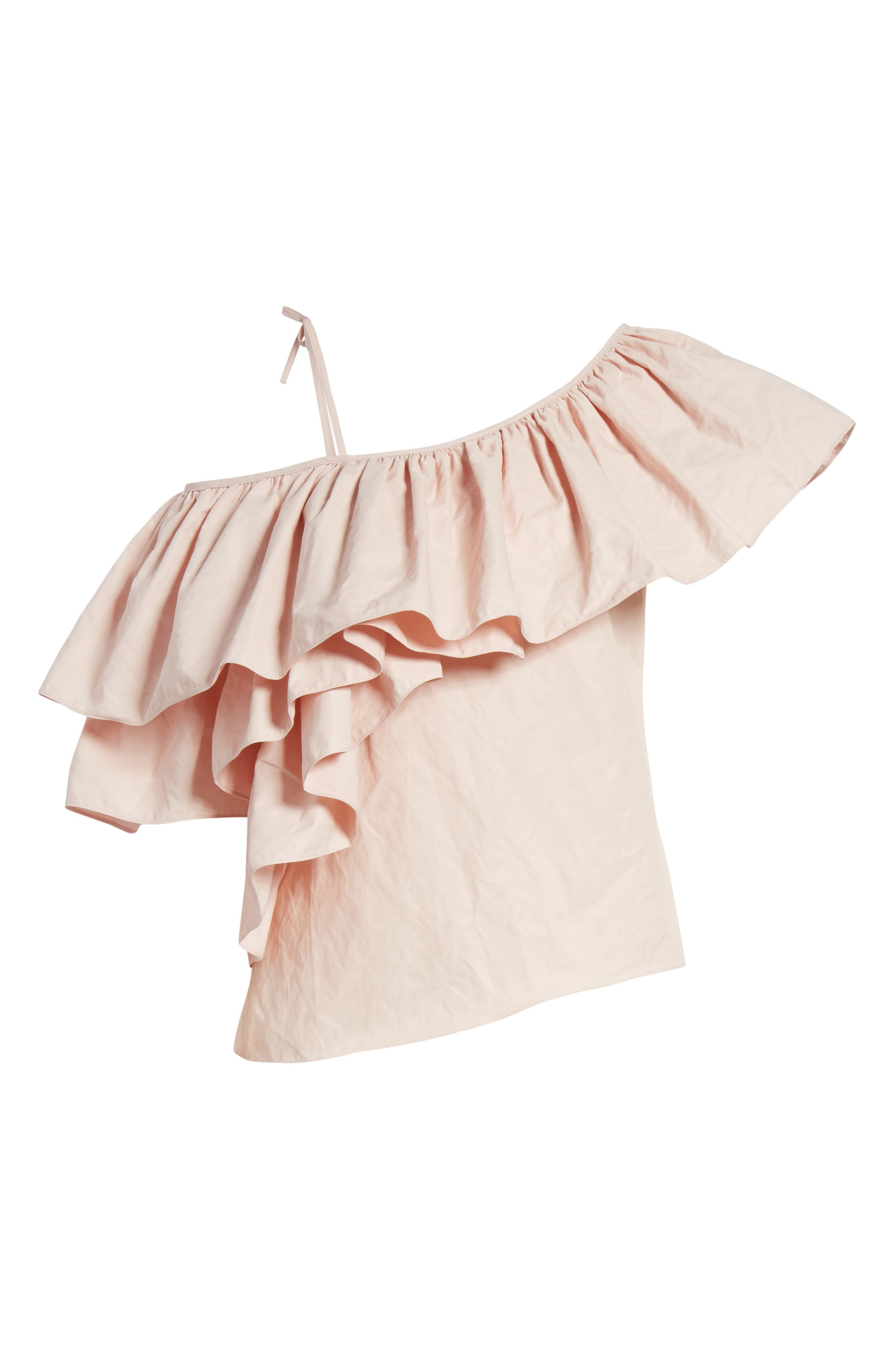 Marques'Almeida One Shoulder Ruffle Top,                             Alternate thumbnail 6, color,                             Pale Pink