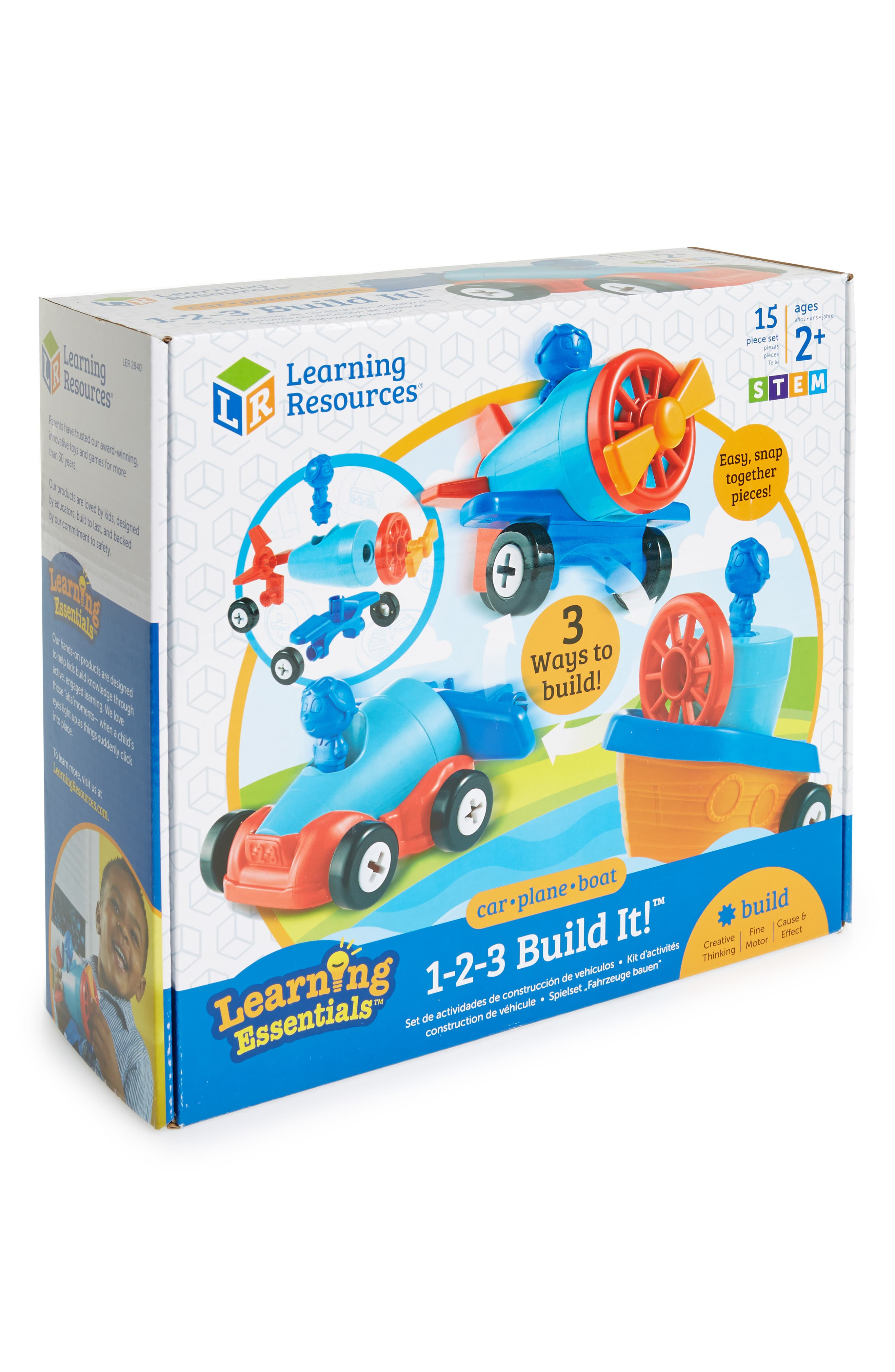 Alternate Image 1 Selected - Educational Insights 15-Piece 1-2-3 Build It! Car, Plane & Boat Set