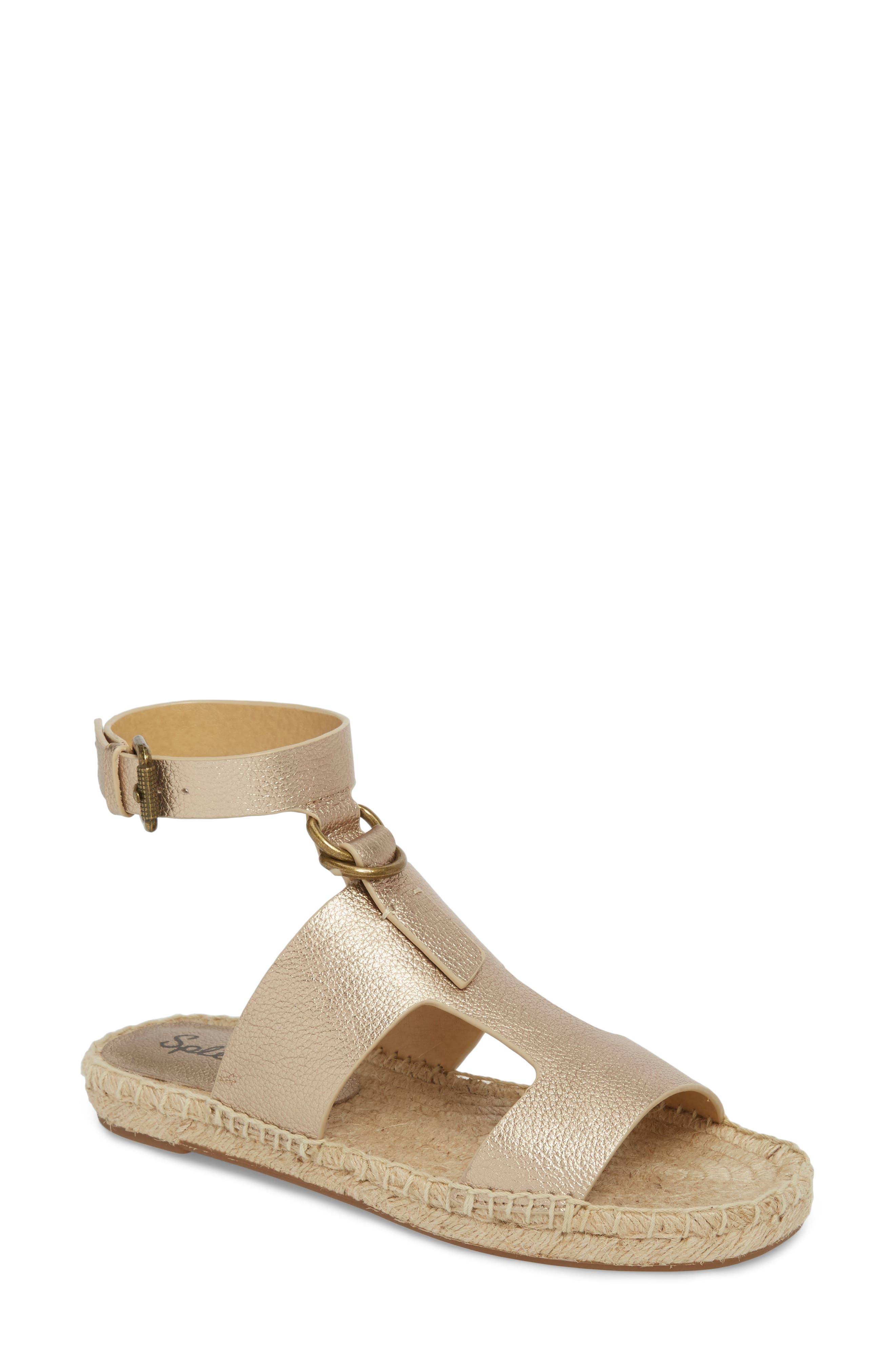 Farley Espadrille Sandal,                             Main thumbnail 1, color,                             Champagne Leather