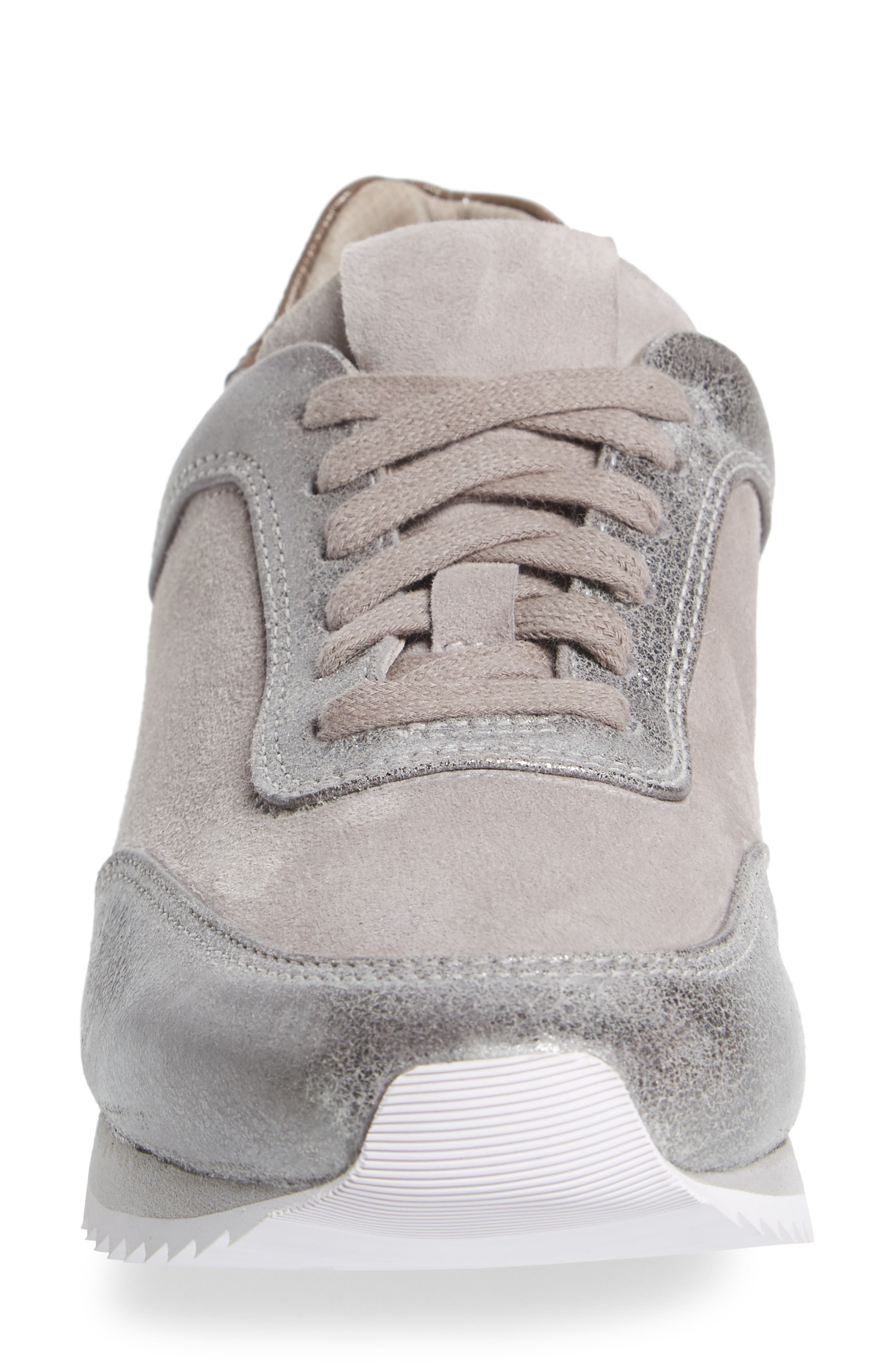 Jules Sneaker,                             Alternate thumbnail 4, color,                             Pewter Leather/ Suede