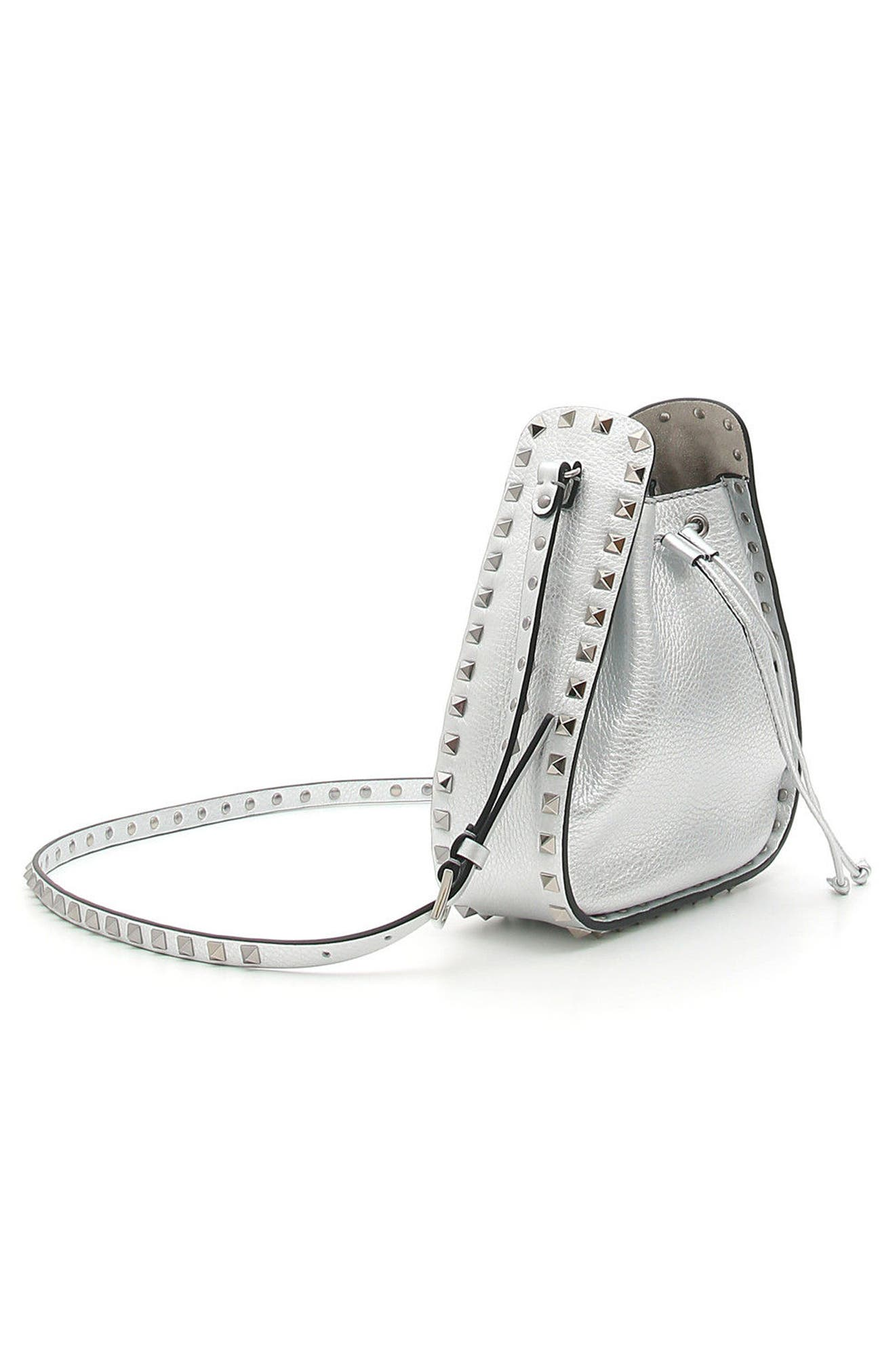 Rockstud Metallic Leather Bucket Bag,                             Alternate thumbnail 3, color,                             Silver