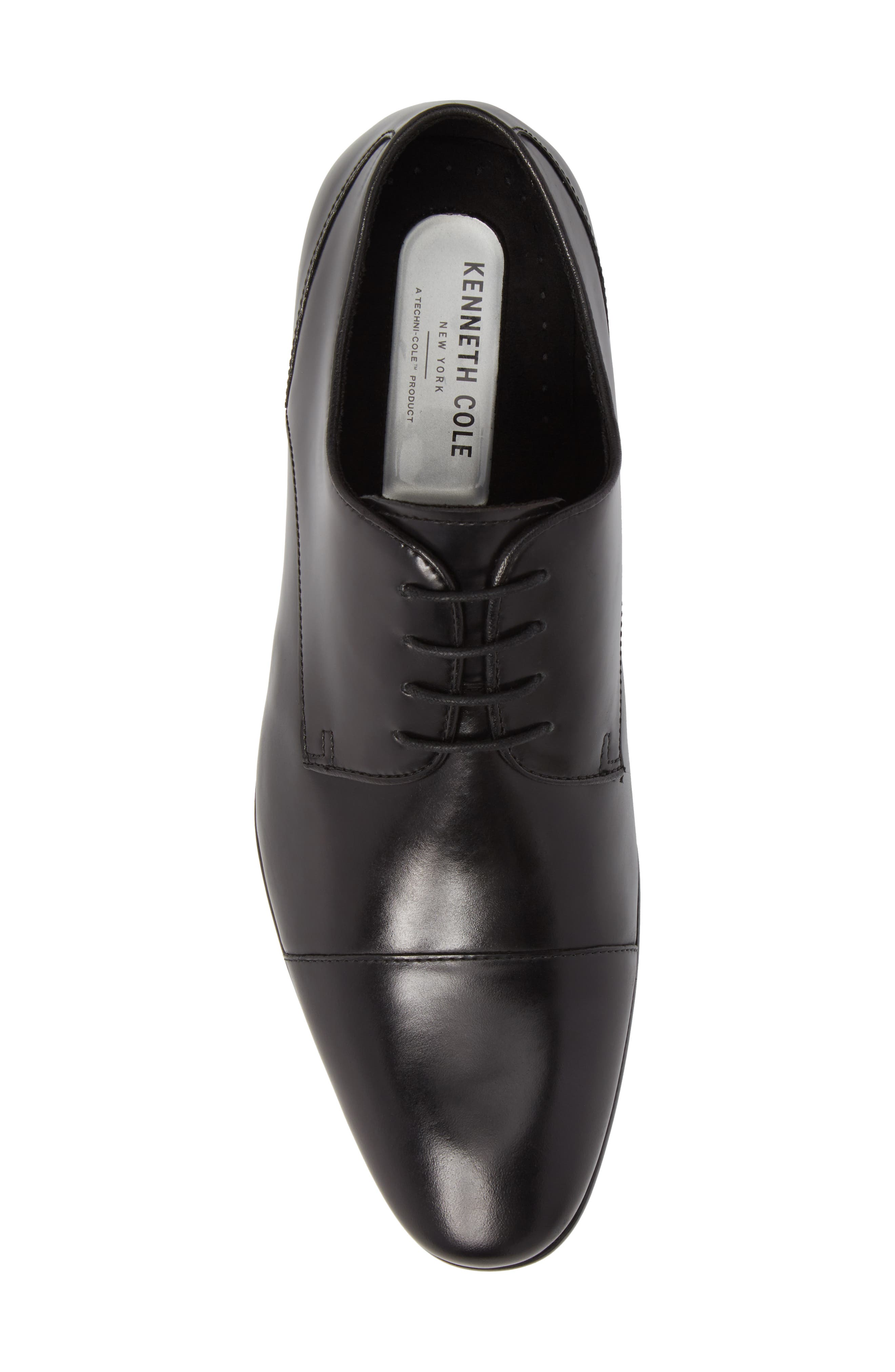 Cap Toe Oxford,                             Alternate thumbnail 5, color,                             Black Leather