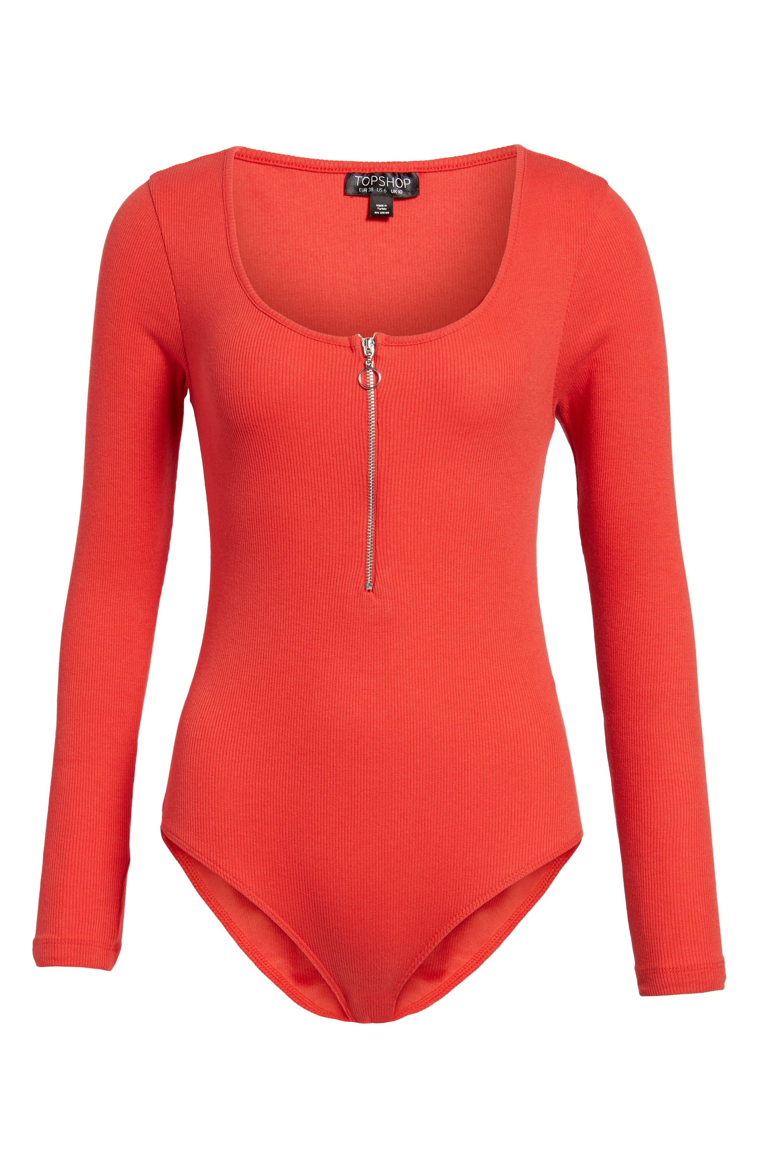 Ring Pull Zip Bodysuit,                             Alternate thumbnail 6, color,                             Red
