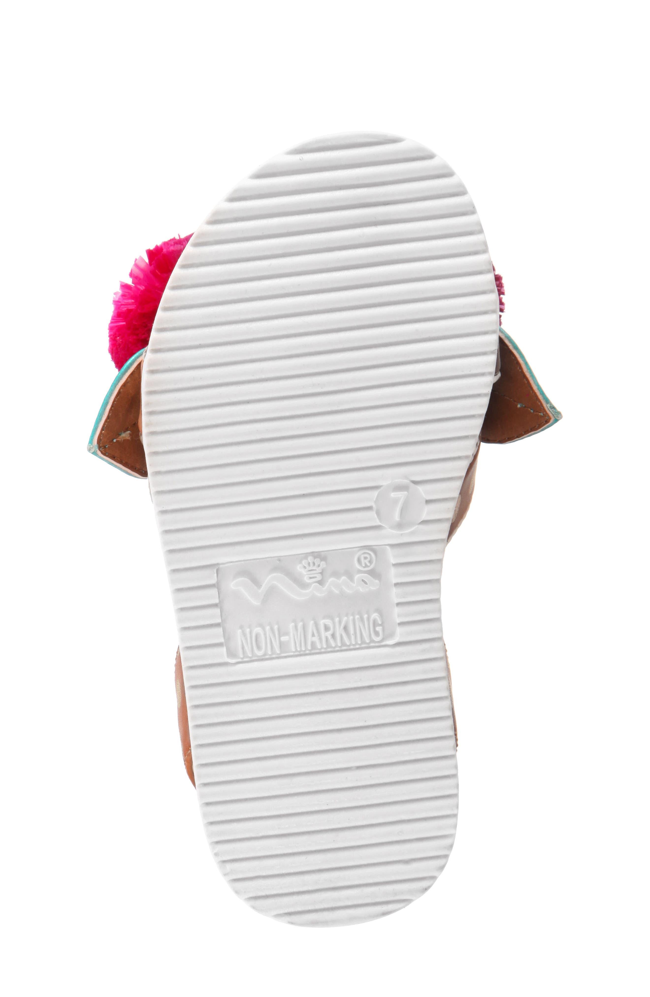 Kyeleigh Pom Flower Sandal,                             Alternate thumbnail 6, color,                             Light Tan Burnish