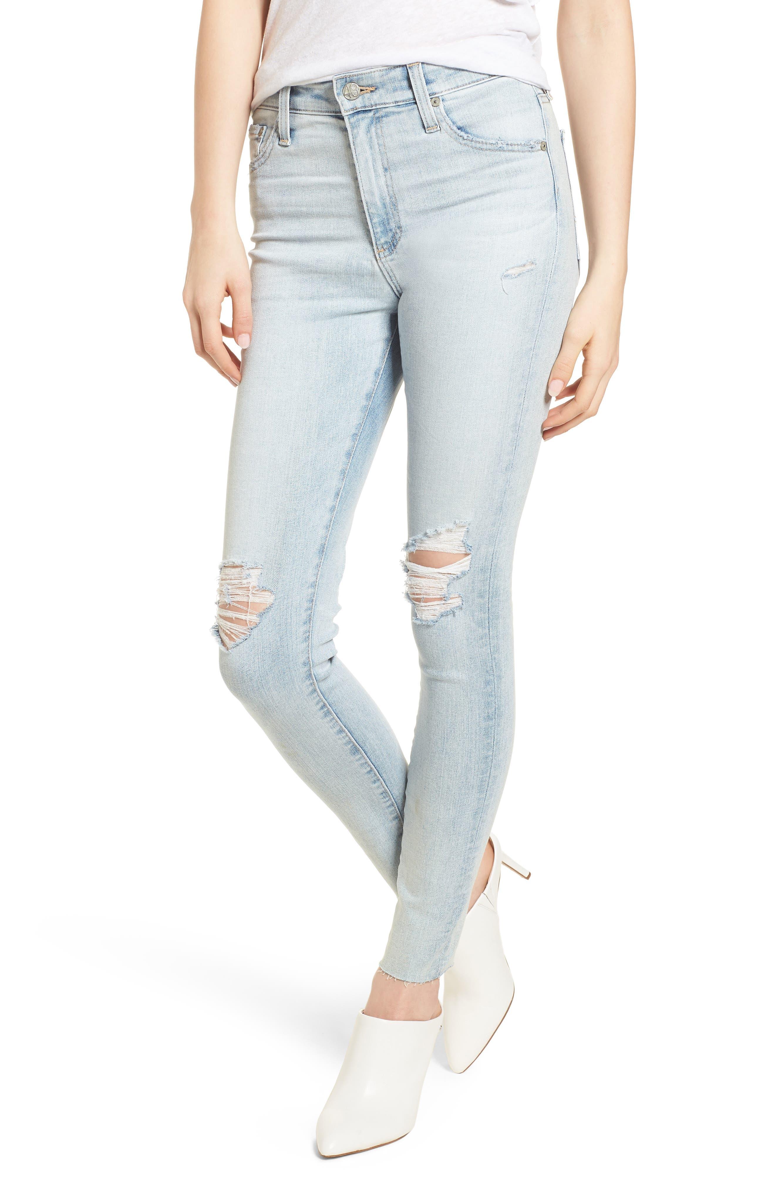 The Farrah High Waist Ankle Skinny Jeans,                         Main,                         color, 24 Years-Seabird