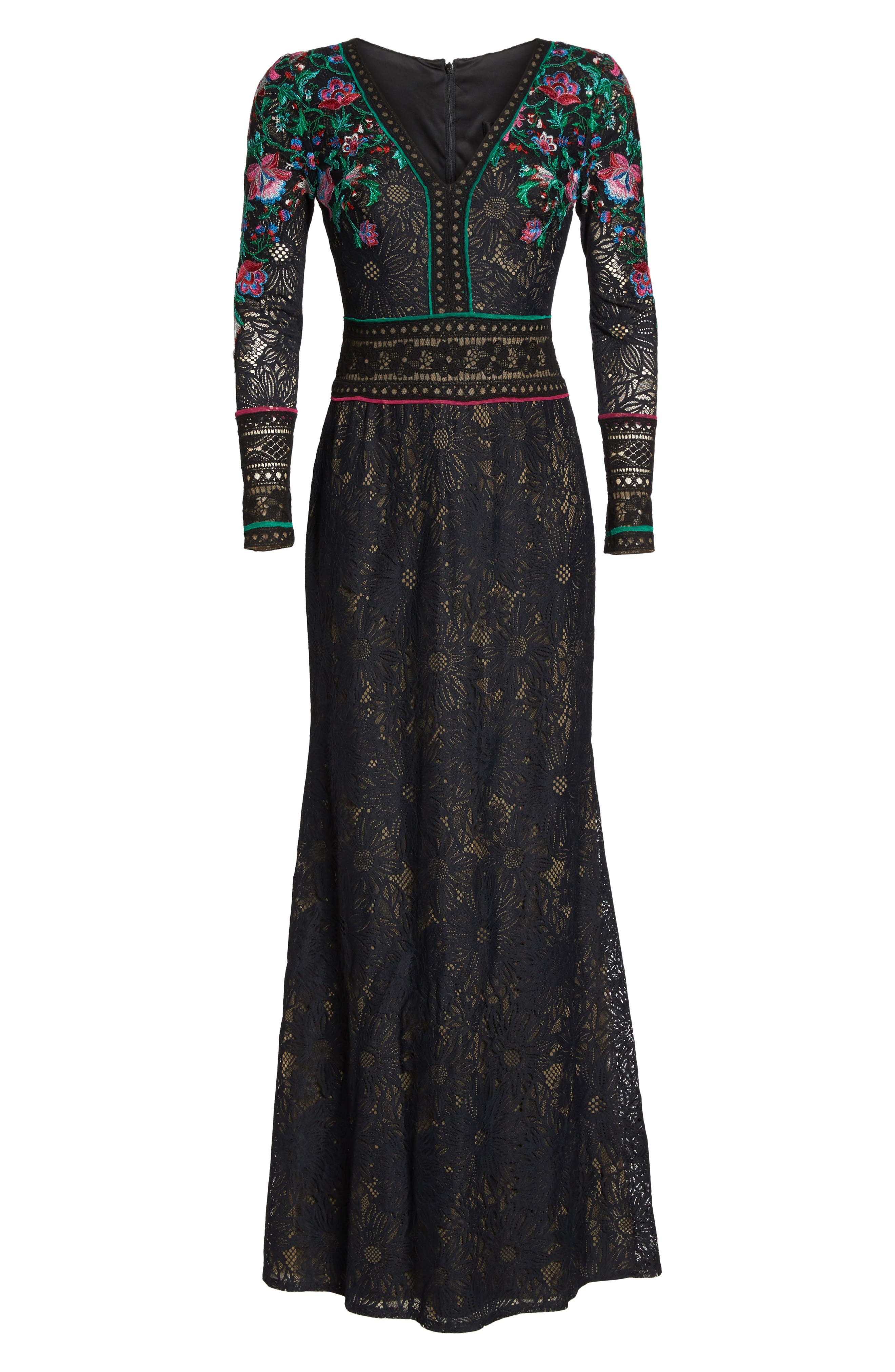 Embroidered Lace A-Line Gown,                             Alternate thumbnail 6, color,                             Black Dahlia