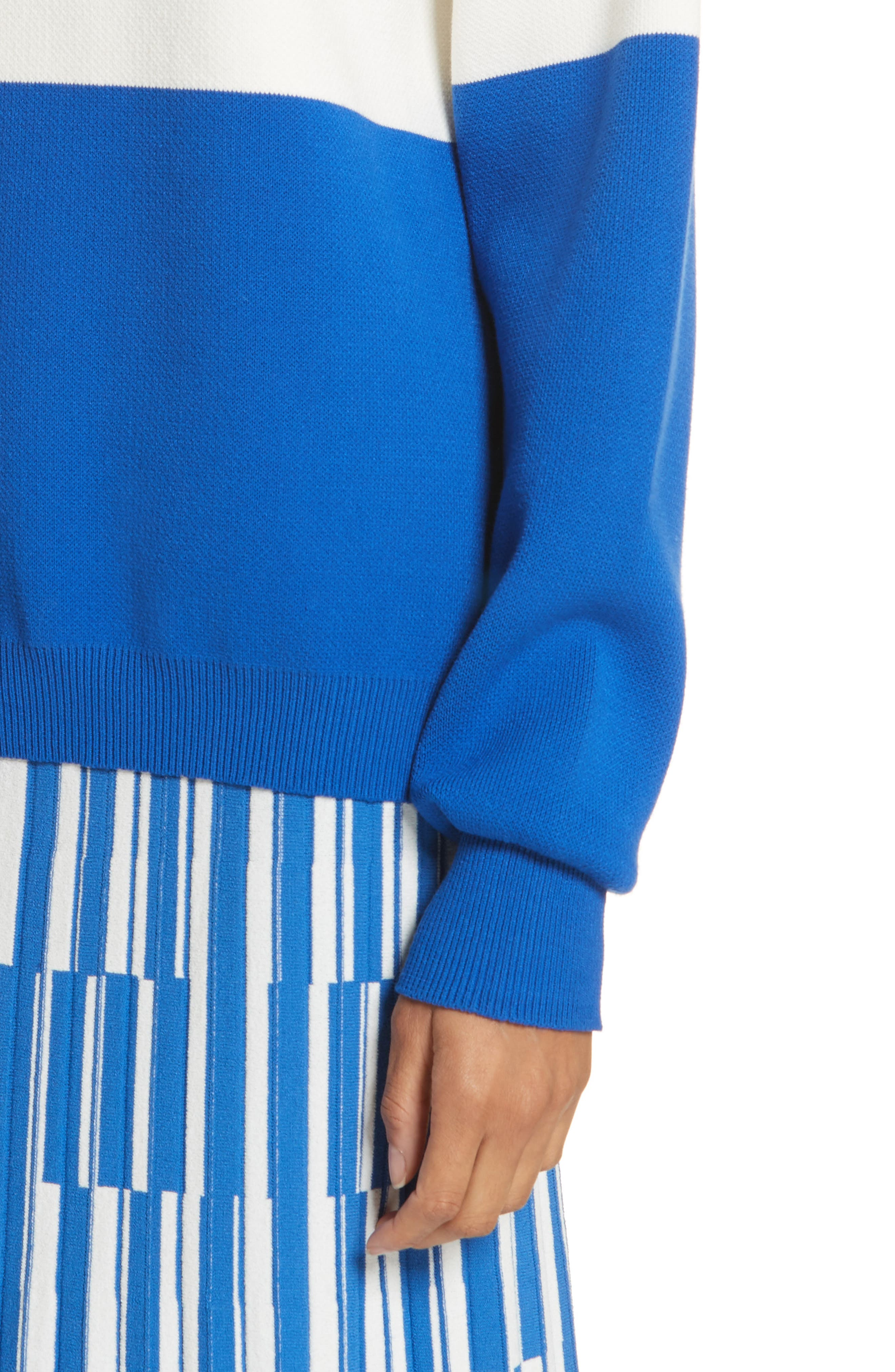 Colorblock Raglan Sweater,                             Alternate thumbnail 5, color,                             Snow White/ Slalom Blue