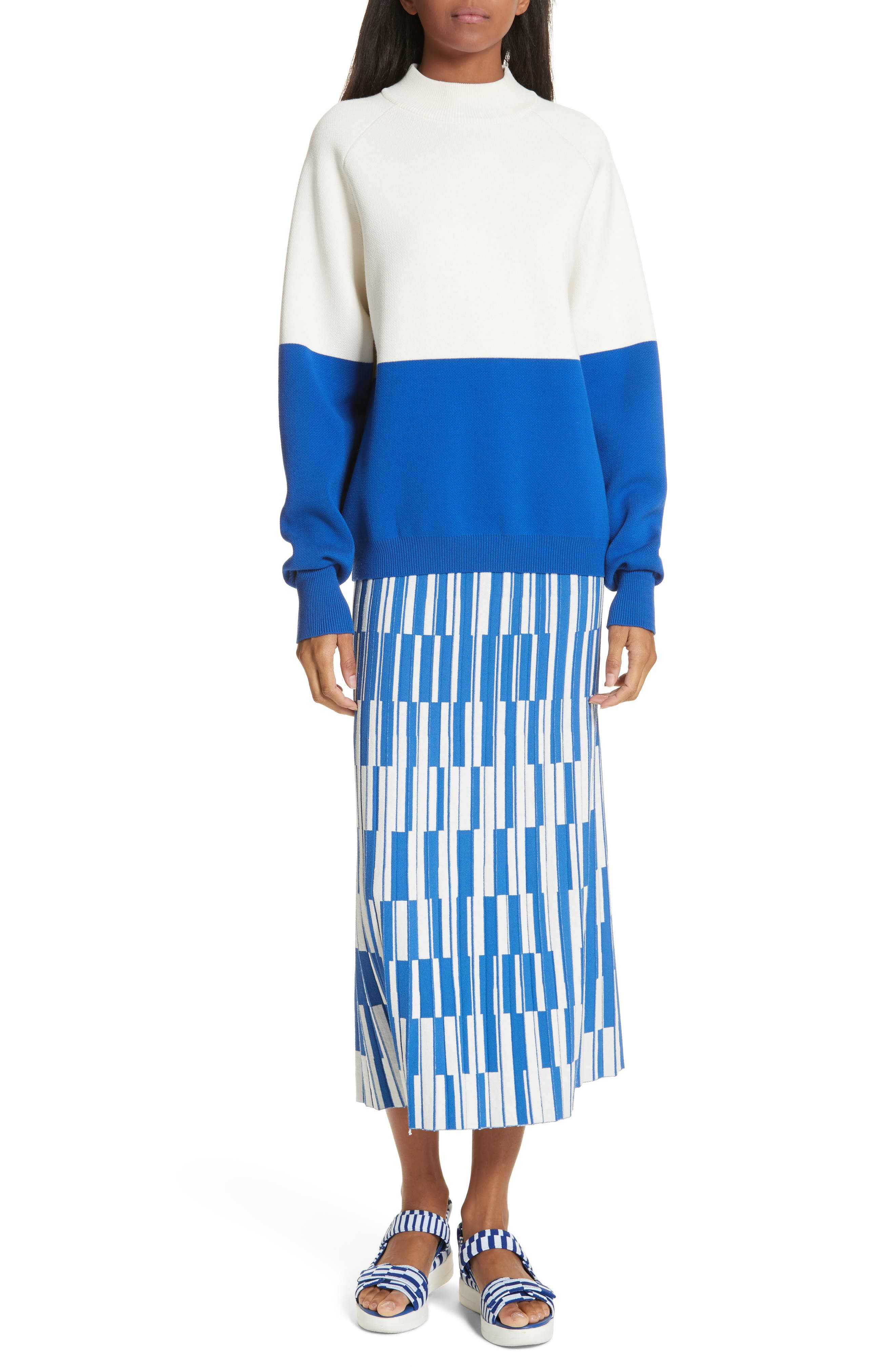 Colorblock Raglan Sweater,                             Alternate thumbnail 8, color,                             Snow White/ Slalom Blue