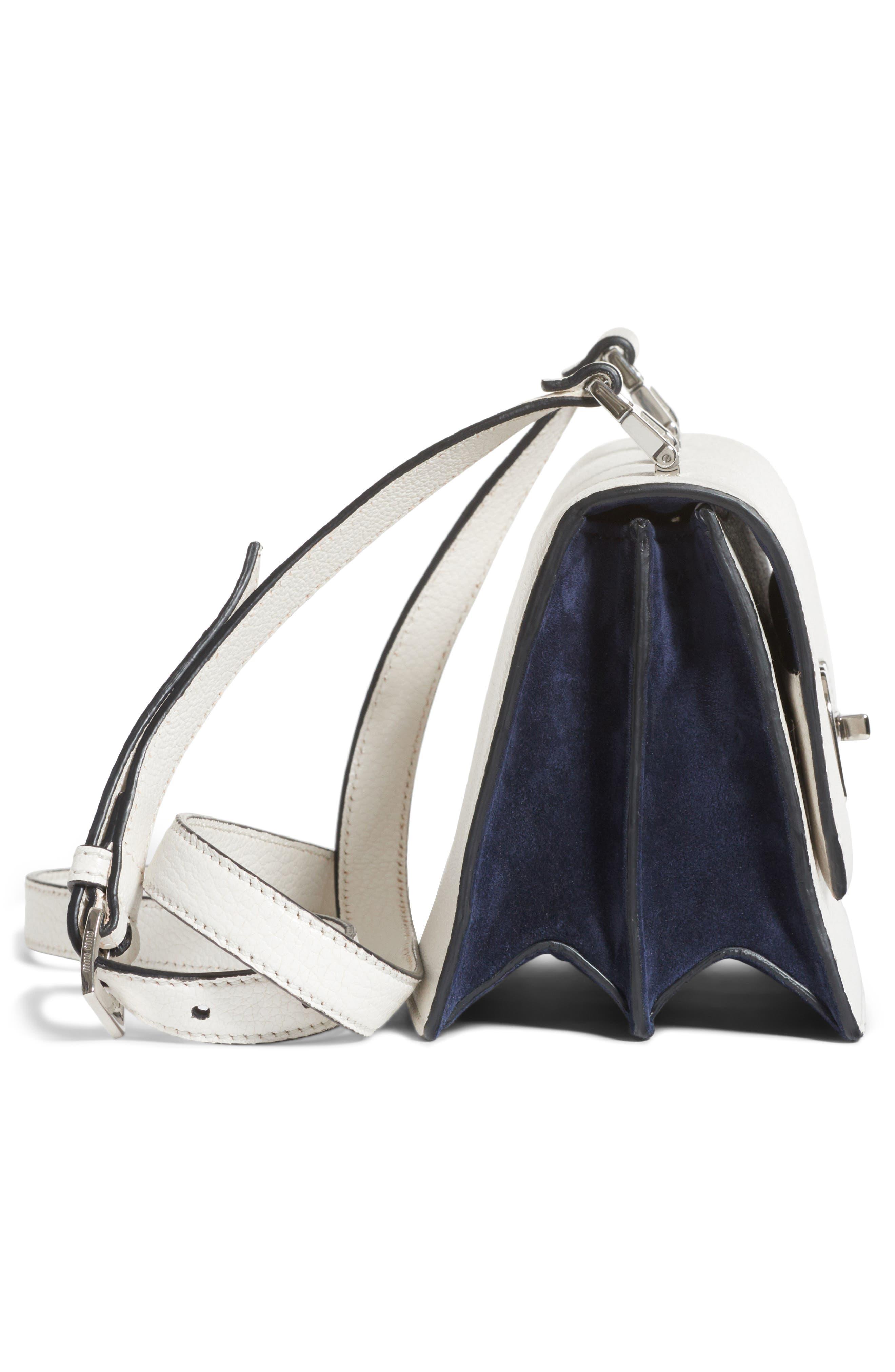 Leather Crossbody Bag,                             Alternate thumbnail 4, color,                             Bianco/ Baltico