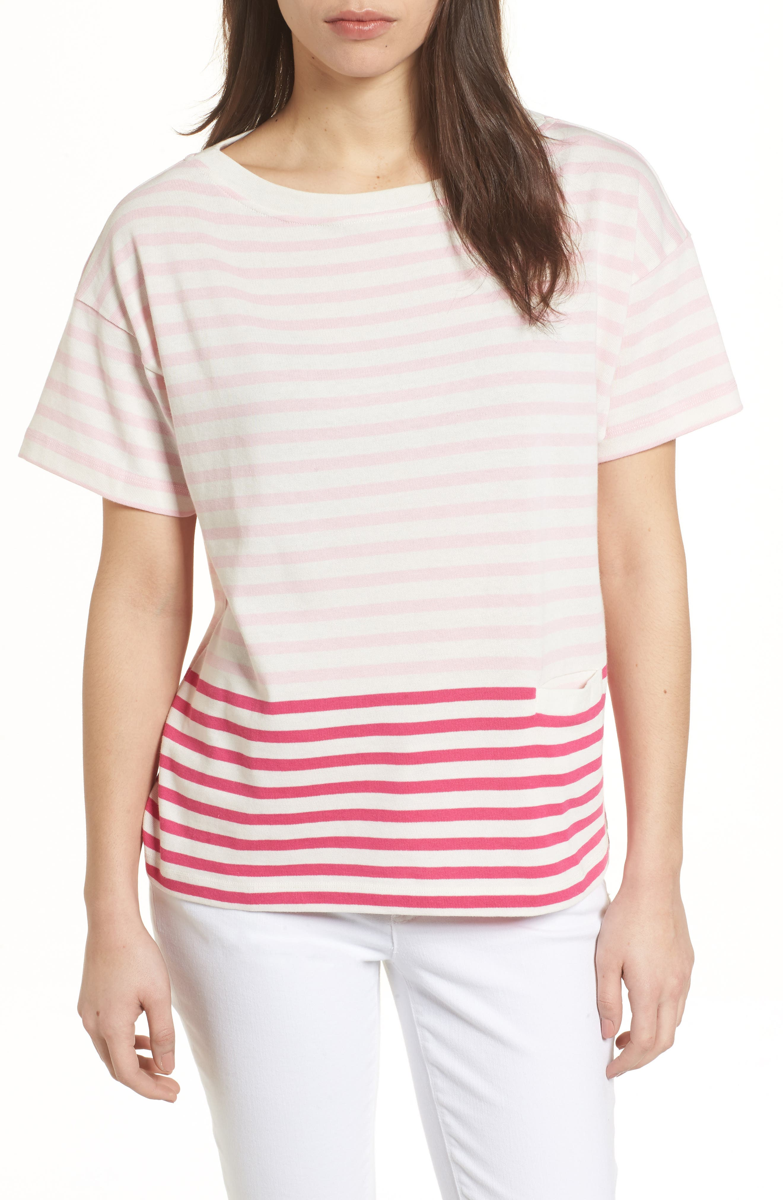 Mixed Stripe Pocket Cotton Knit Top,                             Main thumbnail 1, color,                             Rhododendron