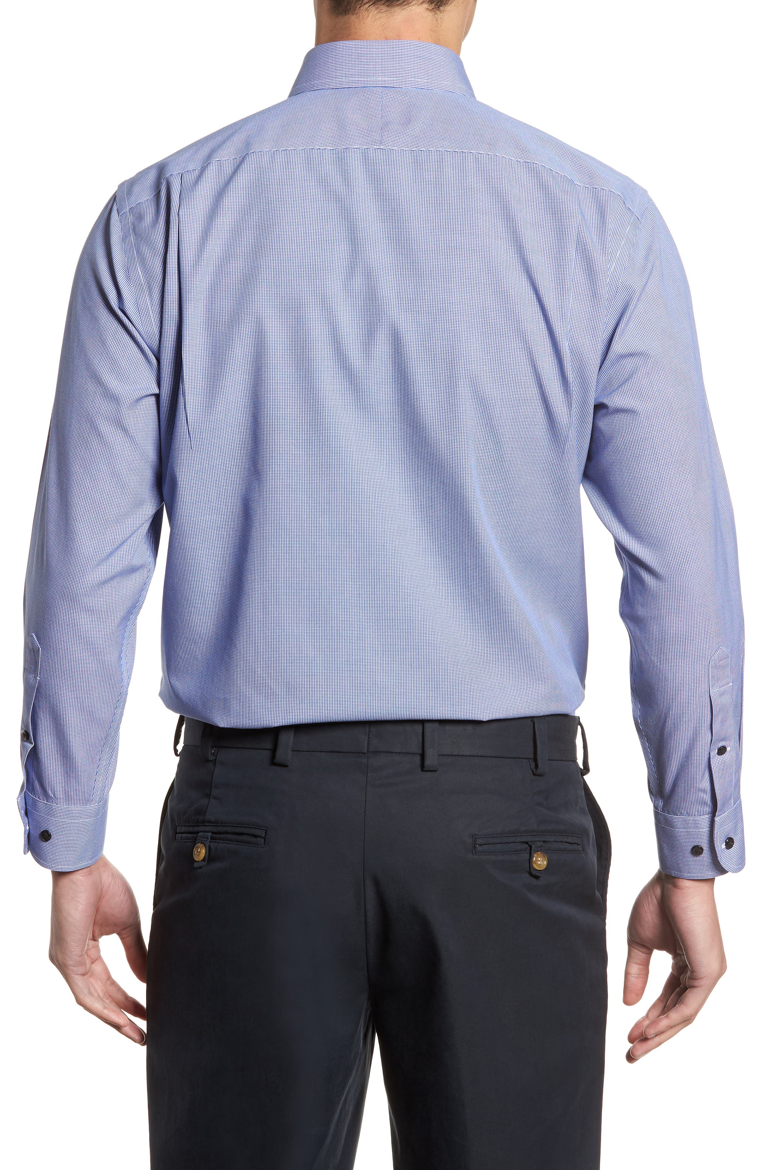 Smartcare<sup>™</sup> Traditional Fit Micro Check Dress Shirt,                             Alternate thumbnail 3, color,                             Blue Marine