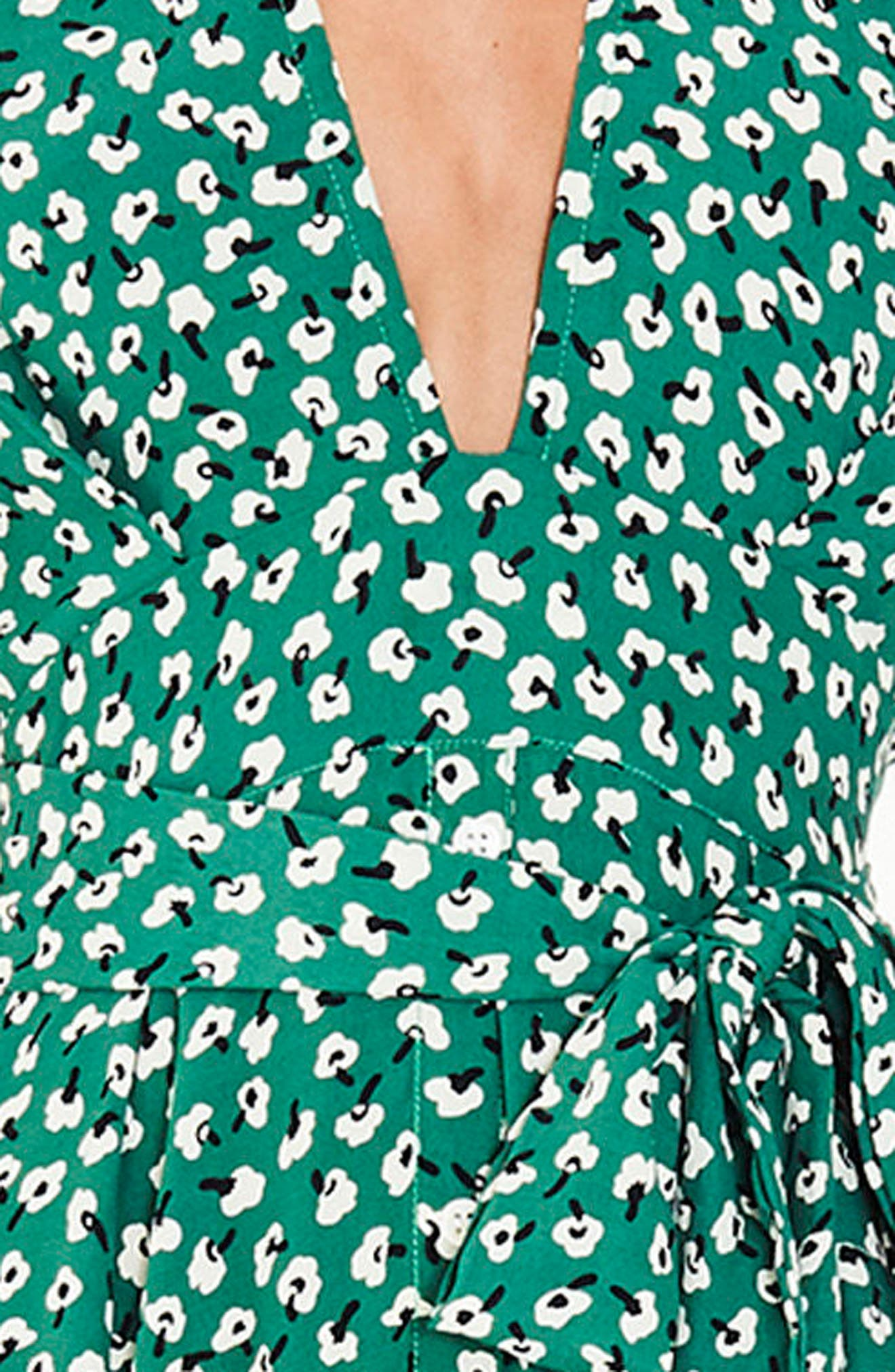 Nina Tie Detail Midi Dress,                             Alternate thumbnail 4, color,                             Vintage Bloom Print - Green