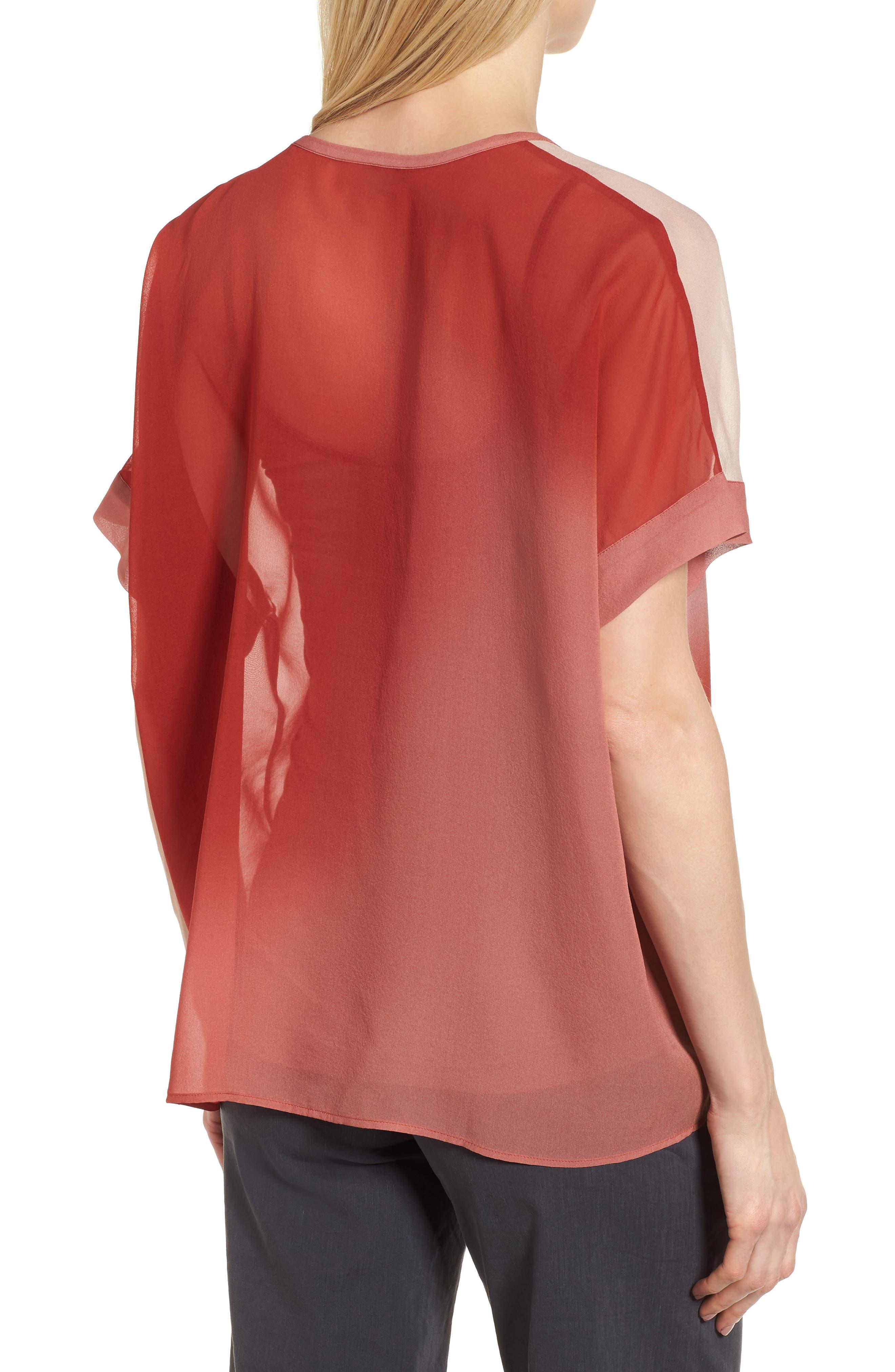 Ombré Silk Short Sleeve Top,                             Alternate thumbnail 2, color,                             Serrano