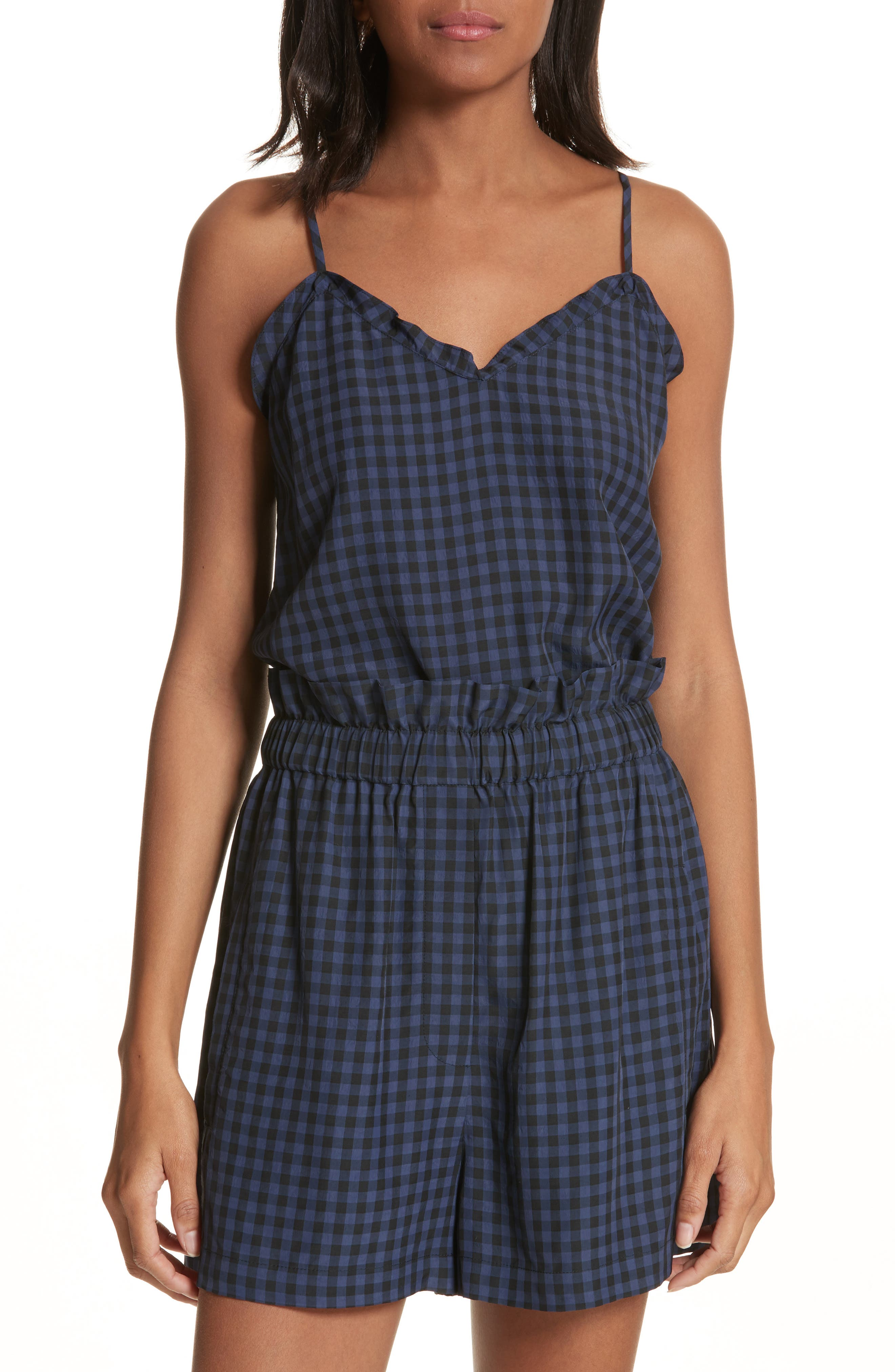 Ruffled Gingham Camisole,                             Main thumbnail 1, color,                             Navy Multi