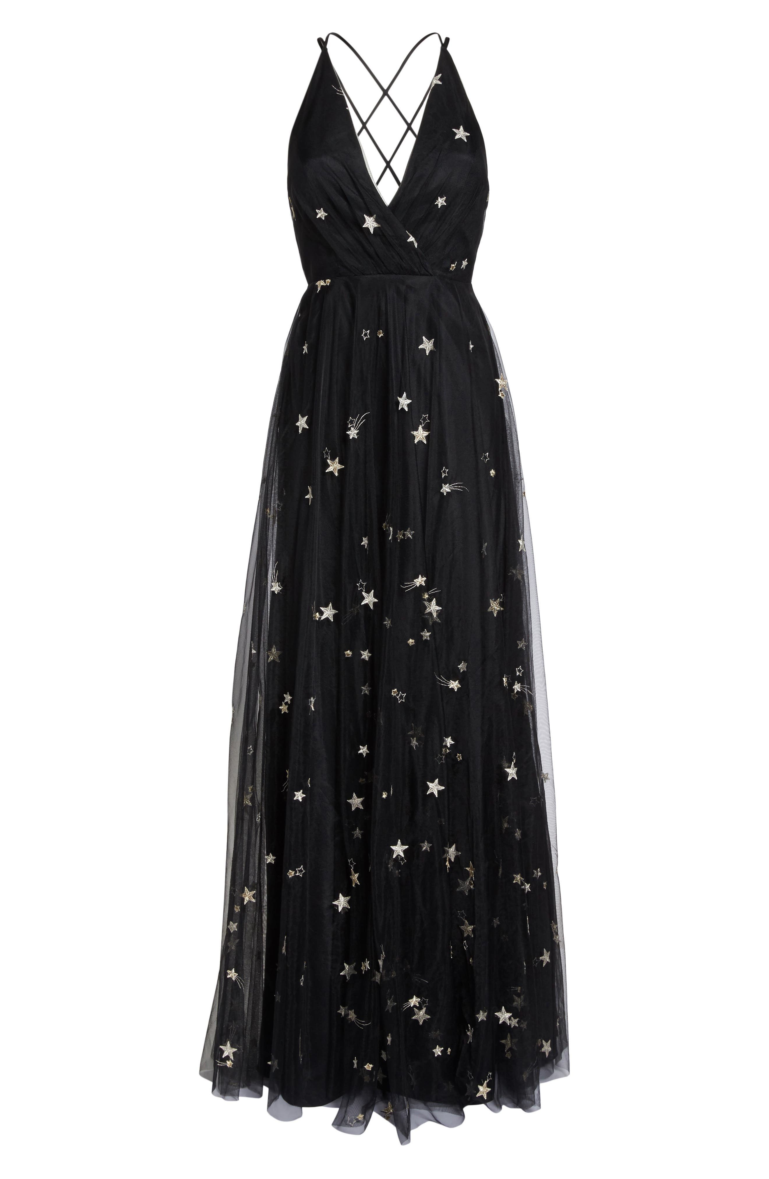 Chelsea Starry Night Embroidered Halter Maxi Dress,                             Alternate thumbnail 6, color,                             Black/ Metallic