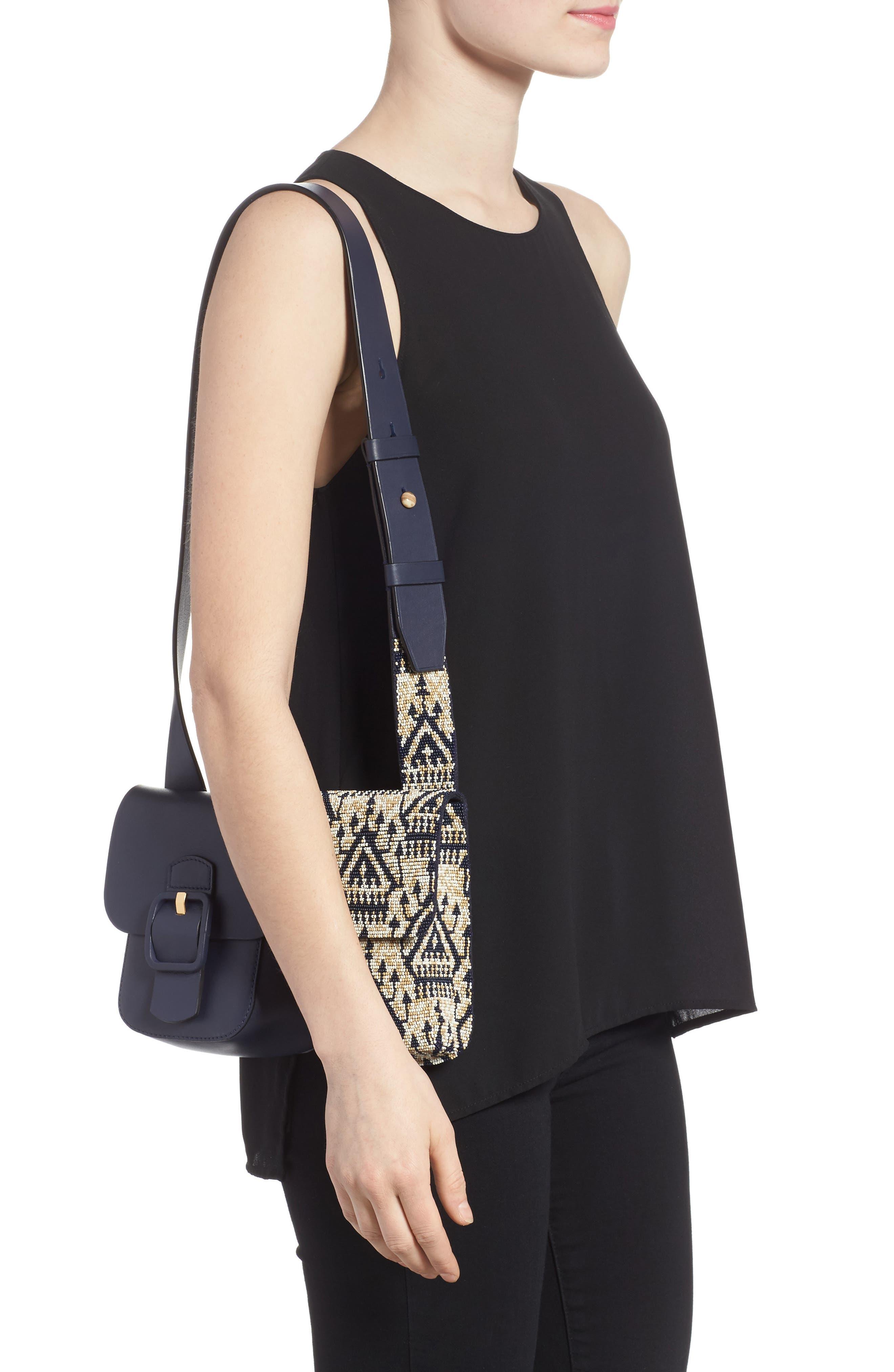 Sawyer Embellished Double Pocket Leather Shoulder Bag,                             Alternate thumbnail 2, color,                             Navy