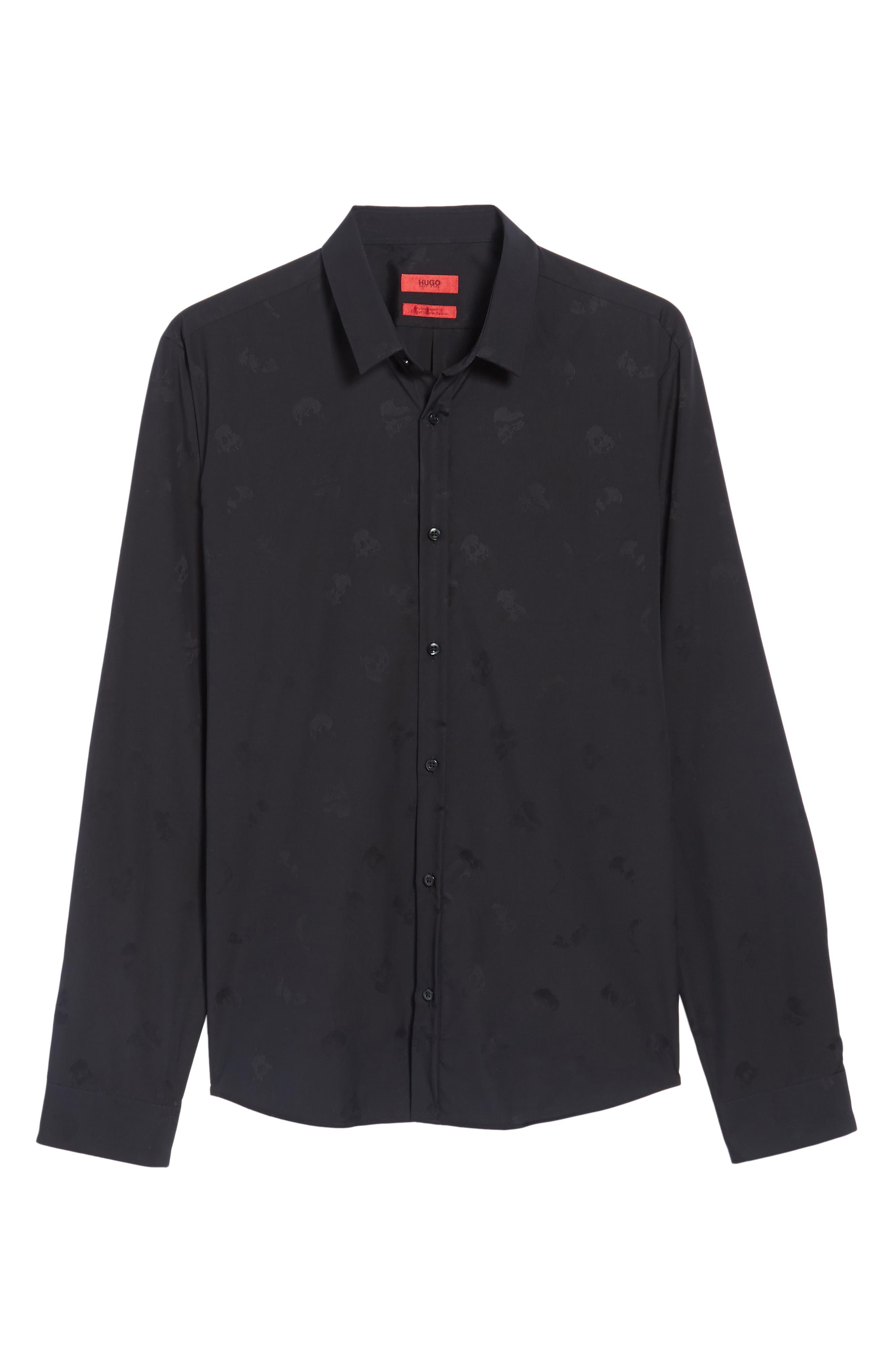 Ero Slim Fit Print Sport Shirt,                             Alternate thumbnail 6, color,                             Black