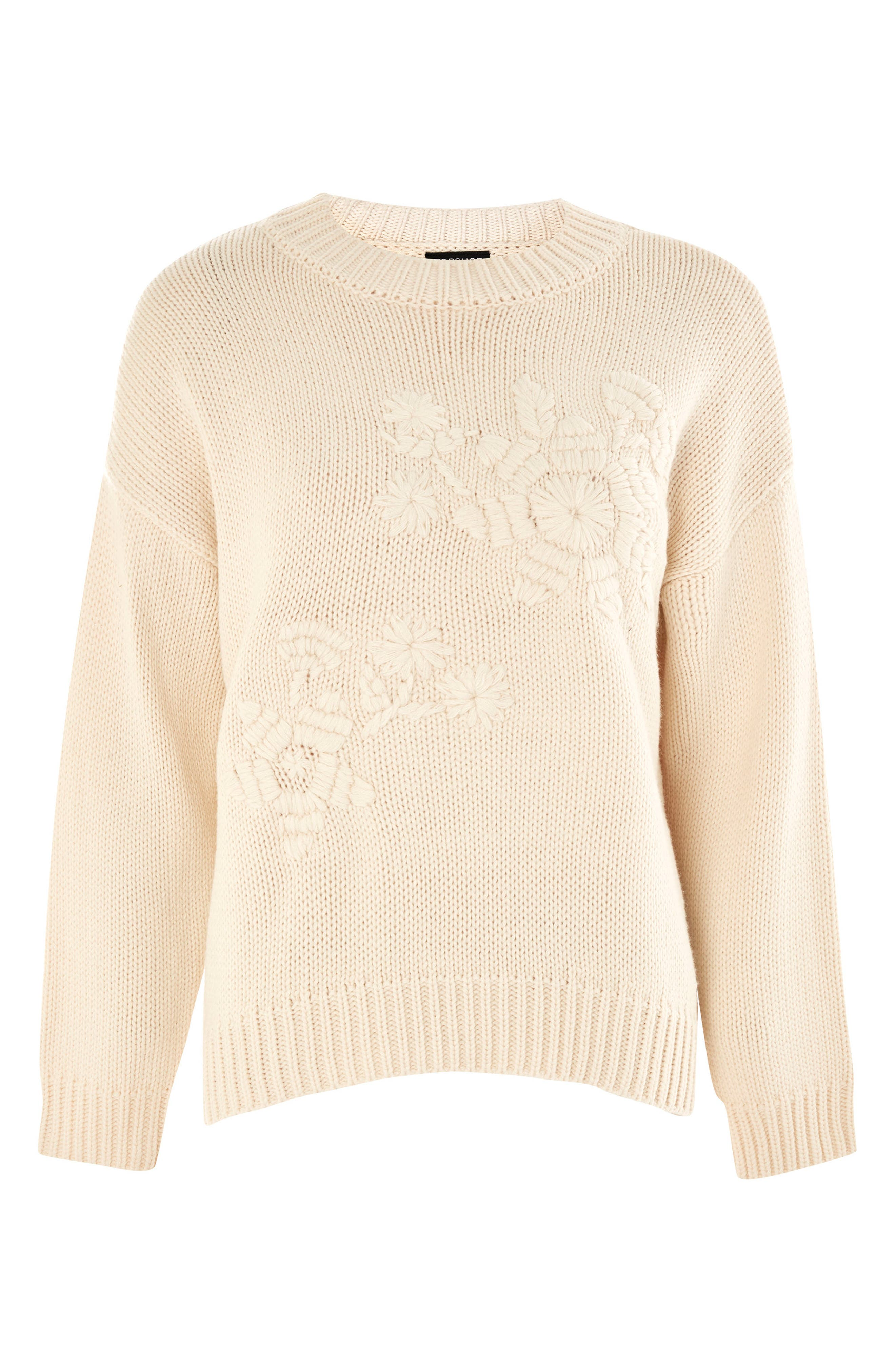 Tonal Embroidered Sweater,                             Alternate thumbnail 4, color,                             Cream