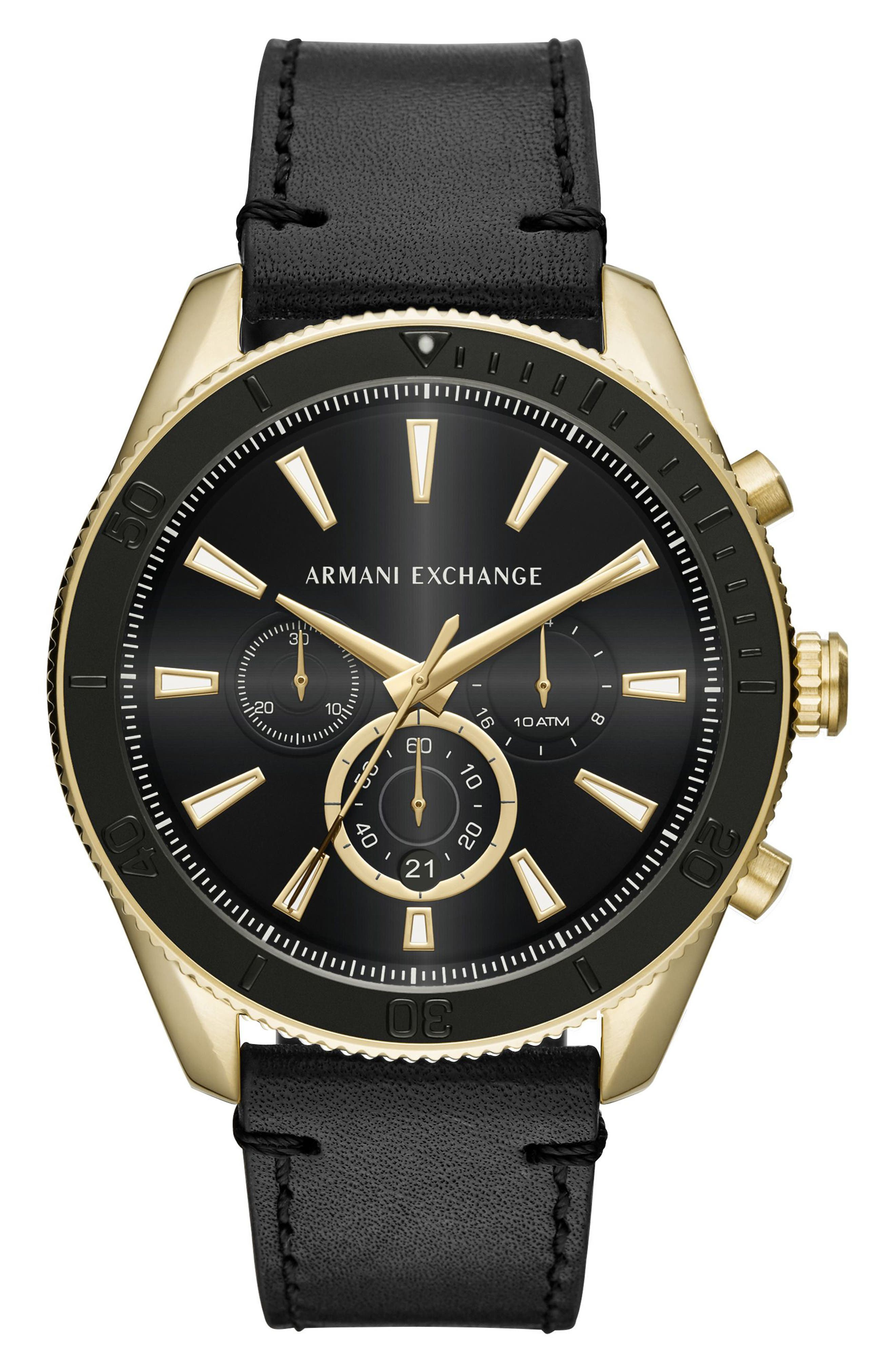 Chronograph Leather Strap Watch, 46mm,                         Main,                         color, Gold/ Black