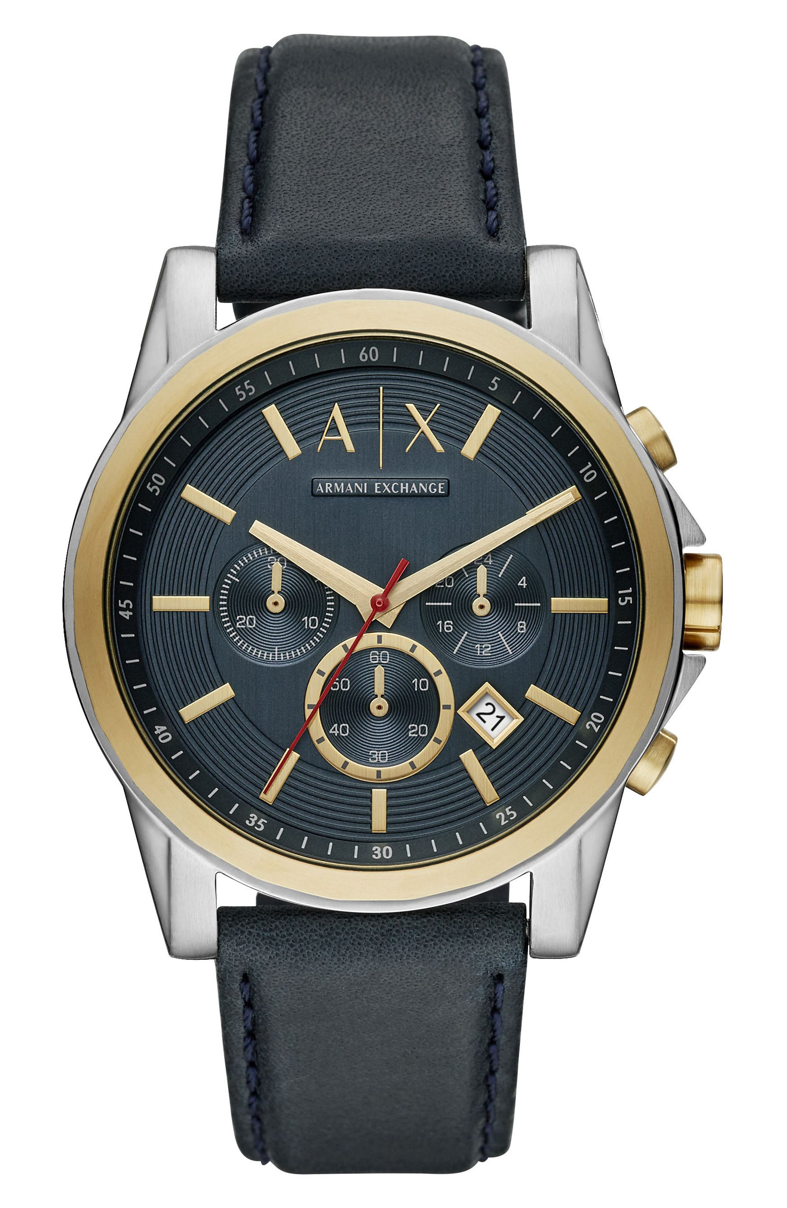 Chronograph Leather Strap Watch, 44mm,                         Main,                         color, Navy/ Black