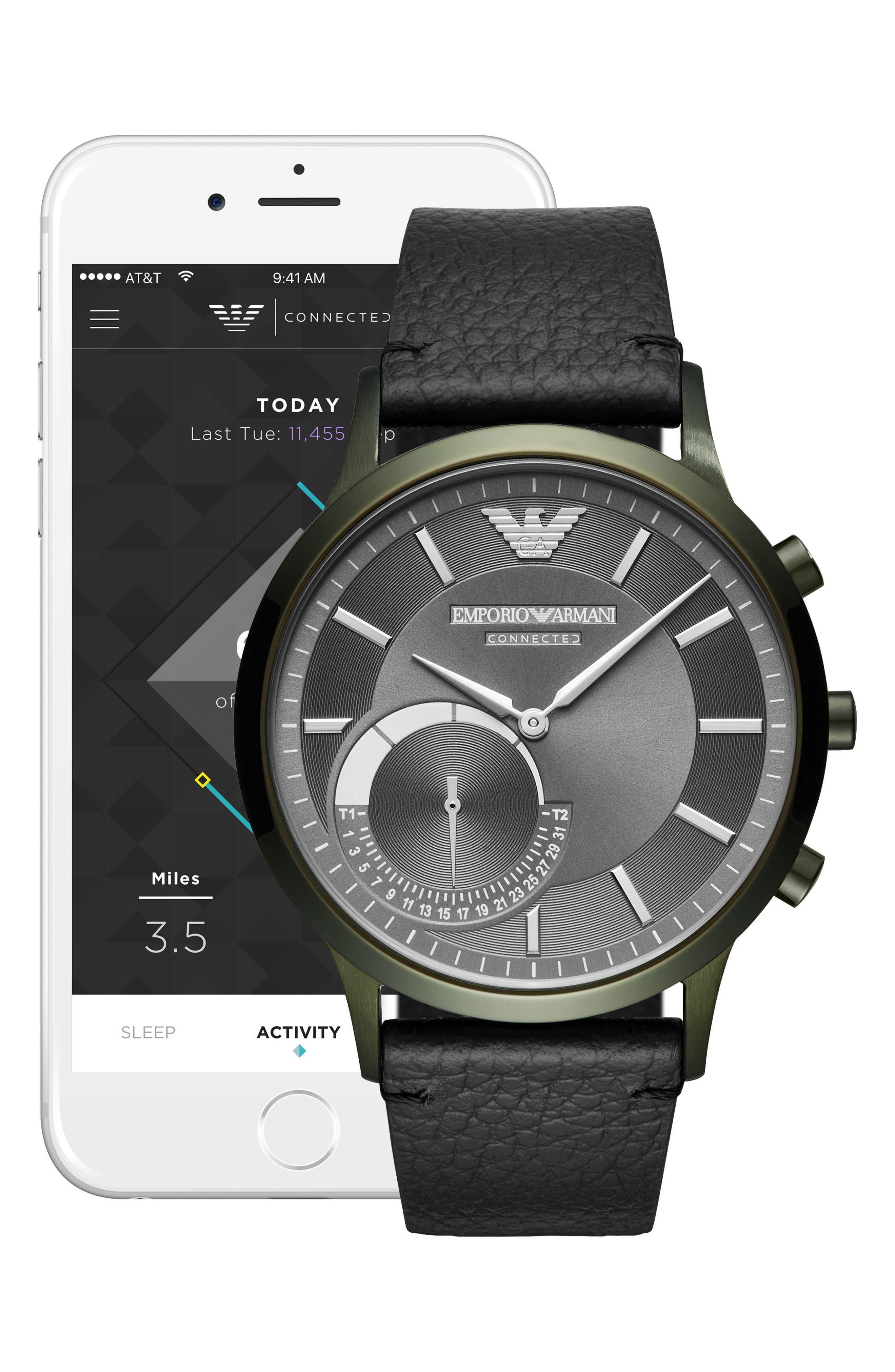 Emporio Armani Renato Hybrid Leather Strap Watch, 43mm