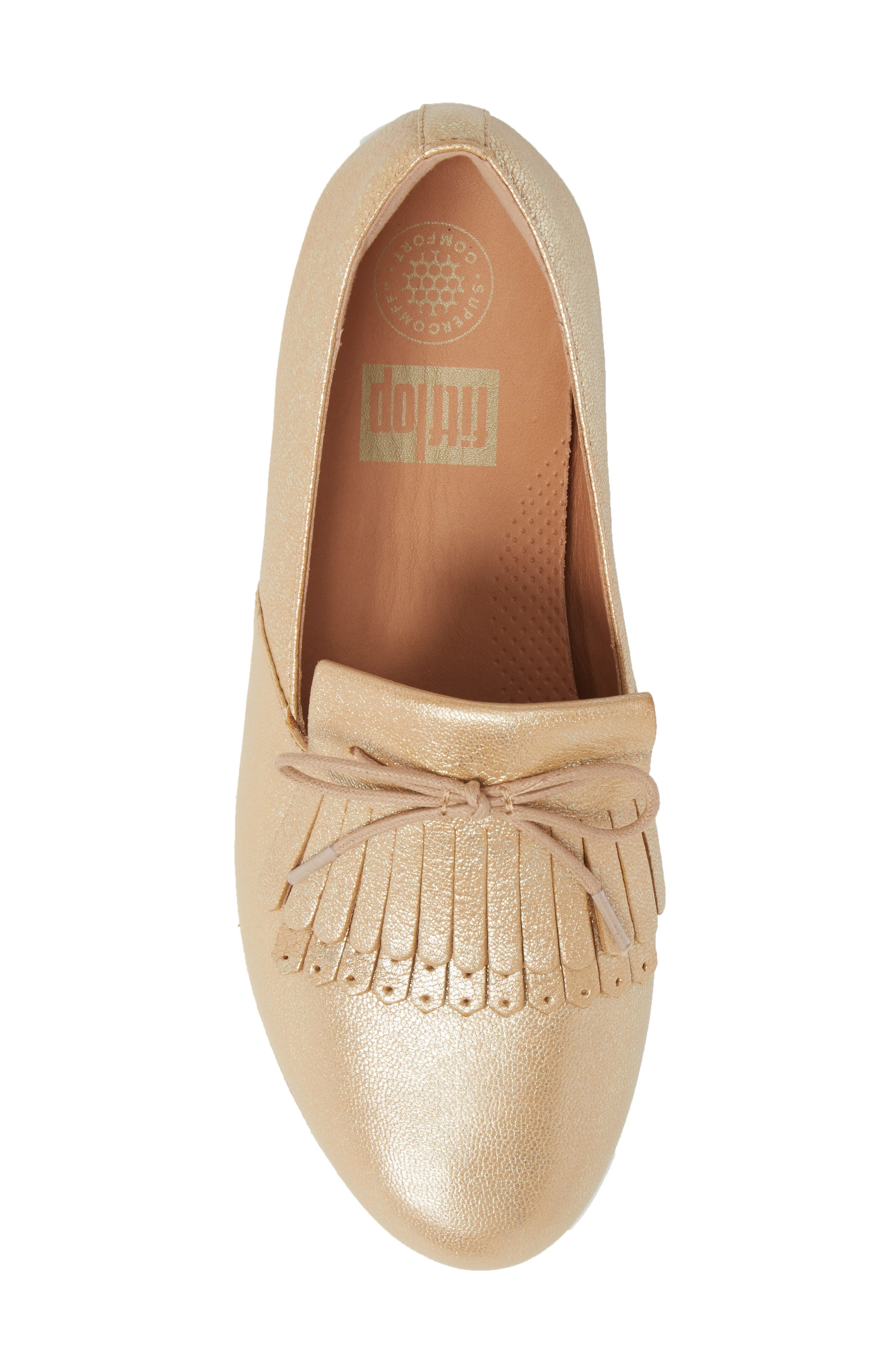 Superskate Fringe Loafer,                             Alternate thumbnail 5, color,                             Metallic Gold Leather