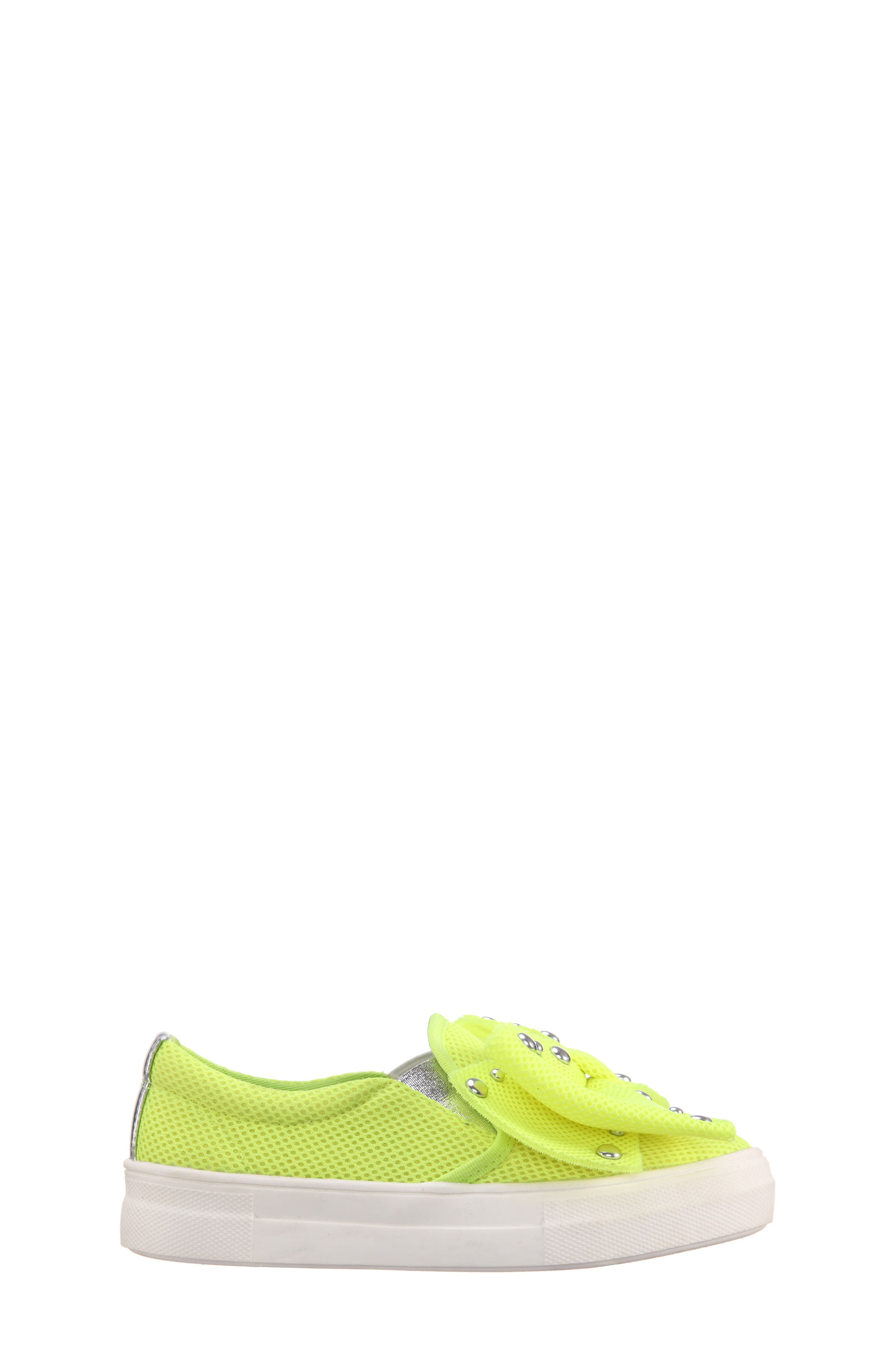 Mary Bow Slip-On Sneaker,                             Alternate thumbnail 3, color,                             Neon Yellow Mesh