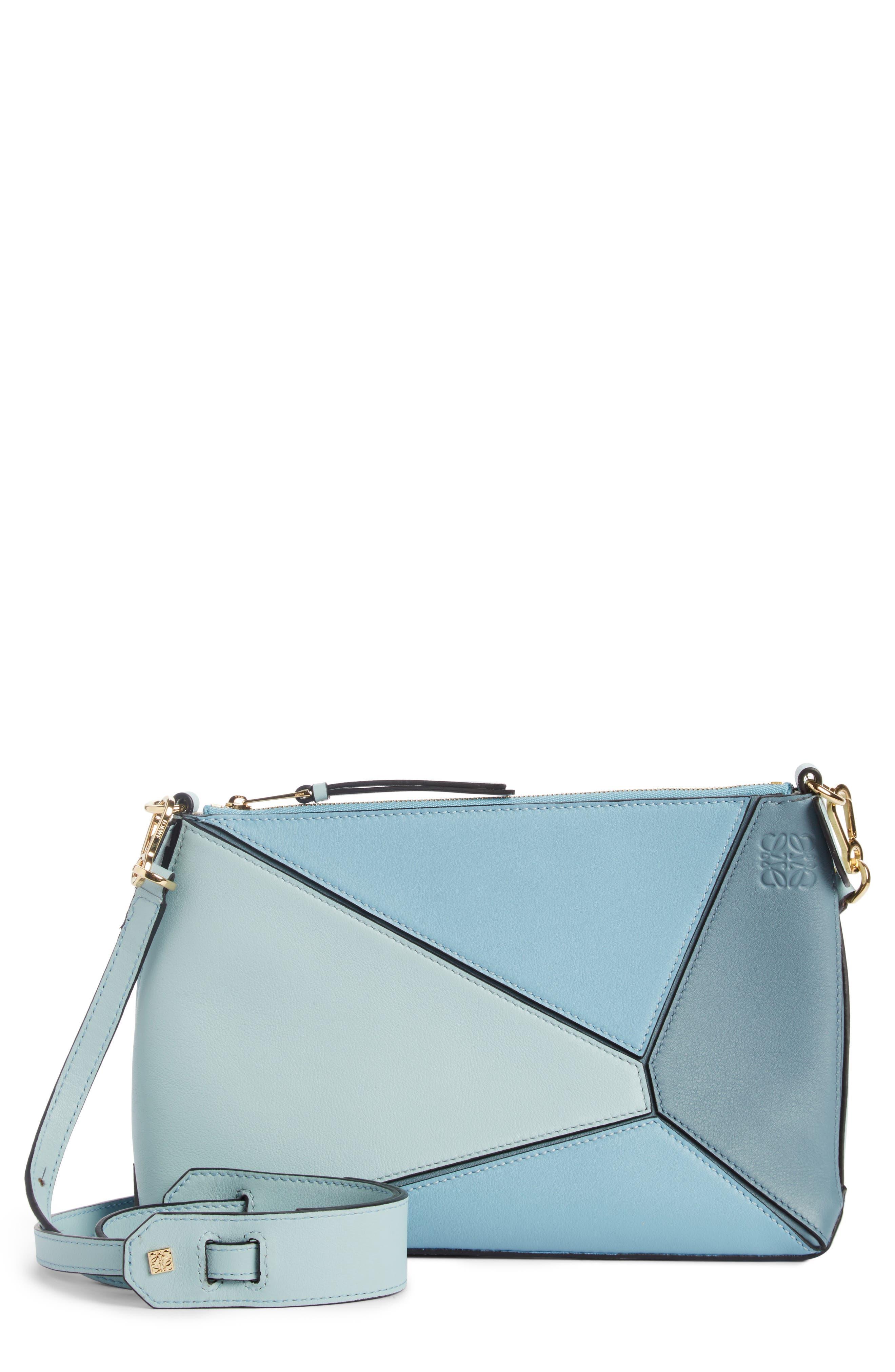 Mini Puzzle Calfskin Leather Crossbody Bag,                             Main thumbnail 1, color,                             Stone Blue Multitone