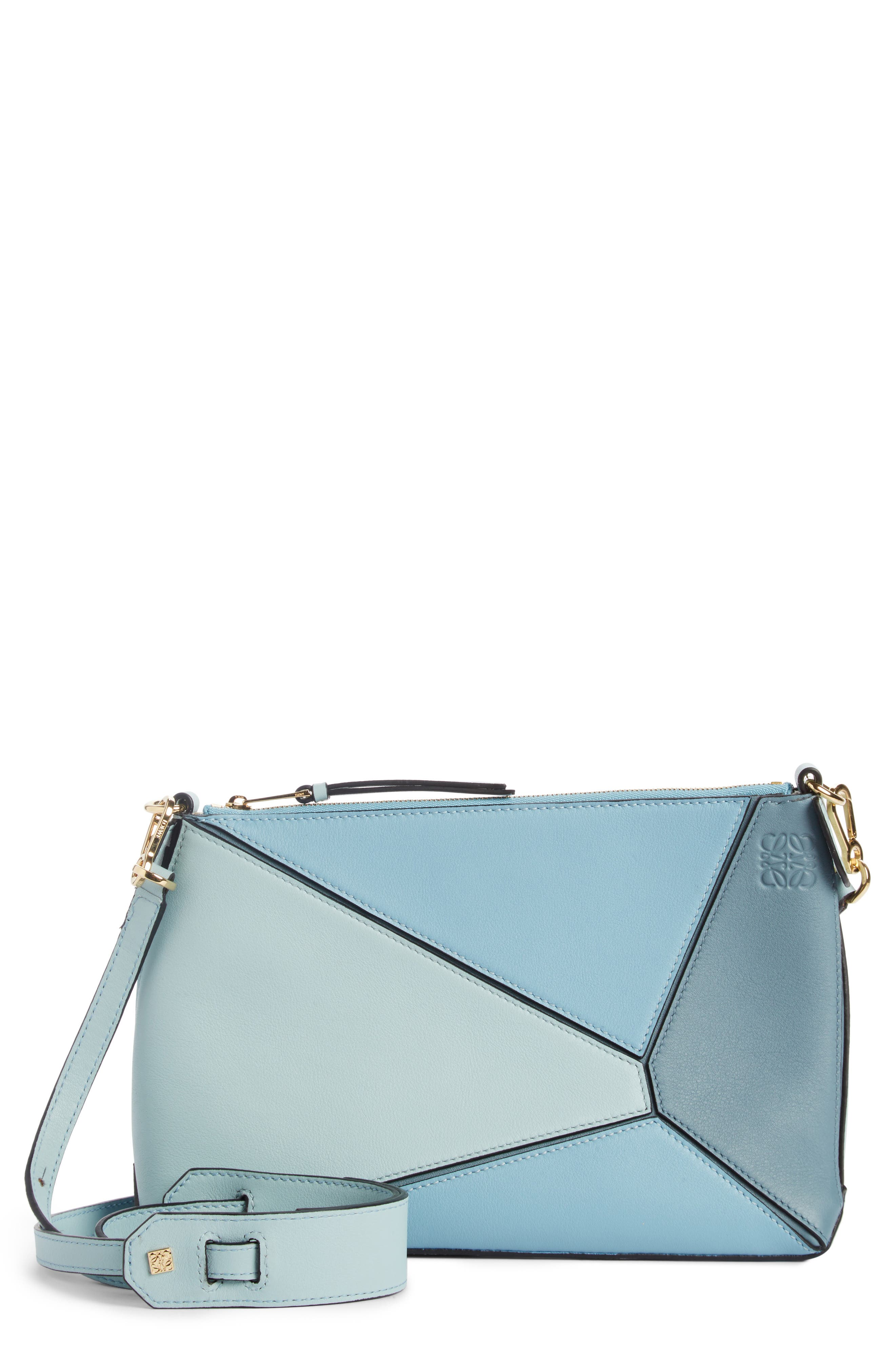 Mini Puzzle Calfskin Leather Crossbody Bag,                         Main,                         color, Stone Blue Multitone