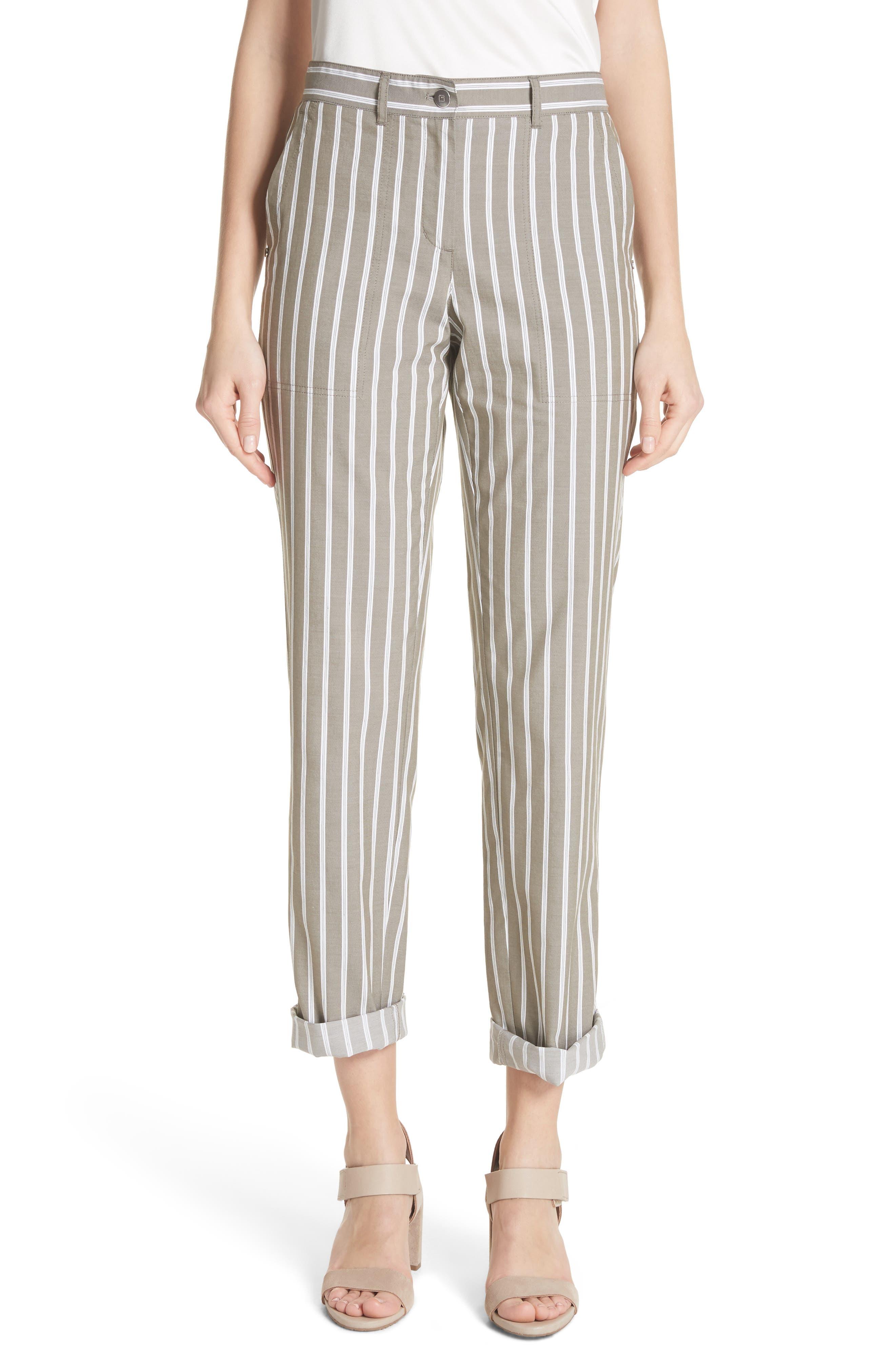 Lafayette 148 New York Fulton Desert Stripe Cotton & Linen Pants