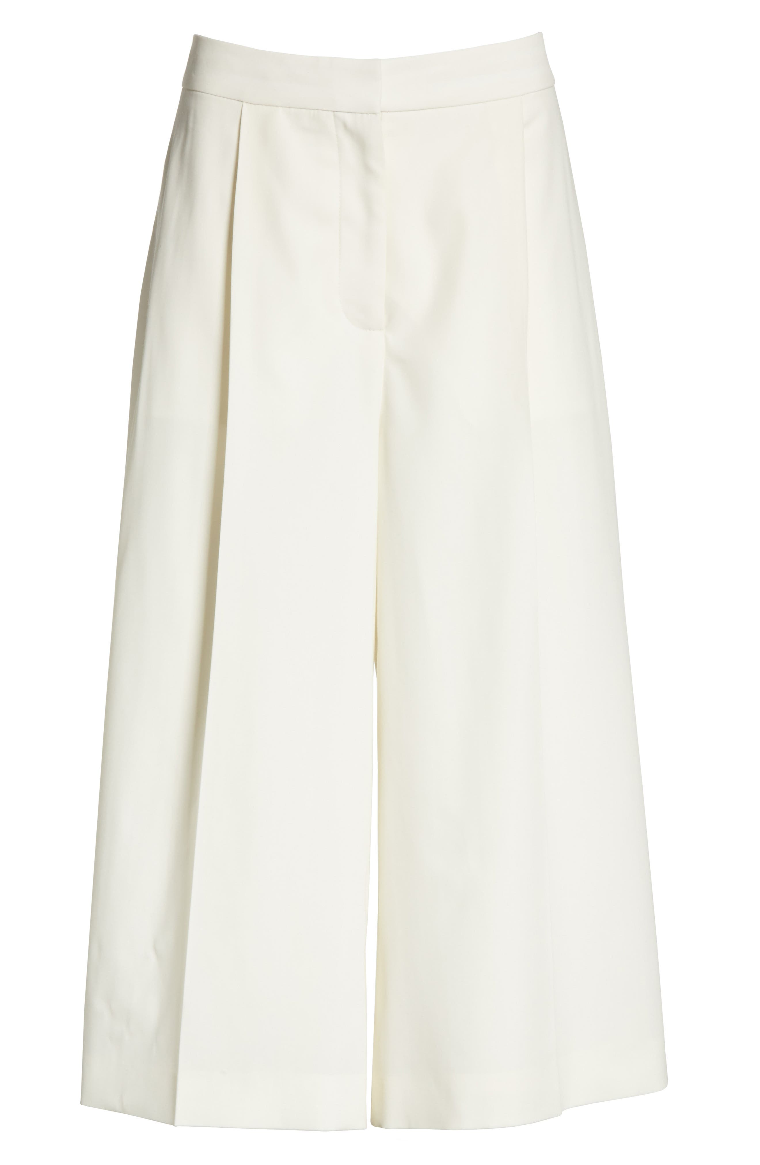 Wool Twill Culottes,                             Alternate thumbnail 7, color,                             Cream