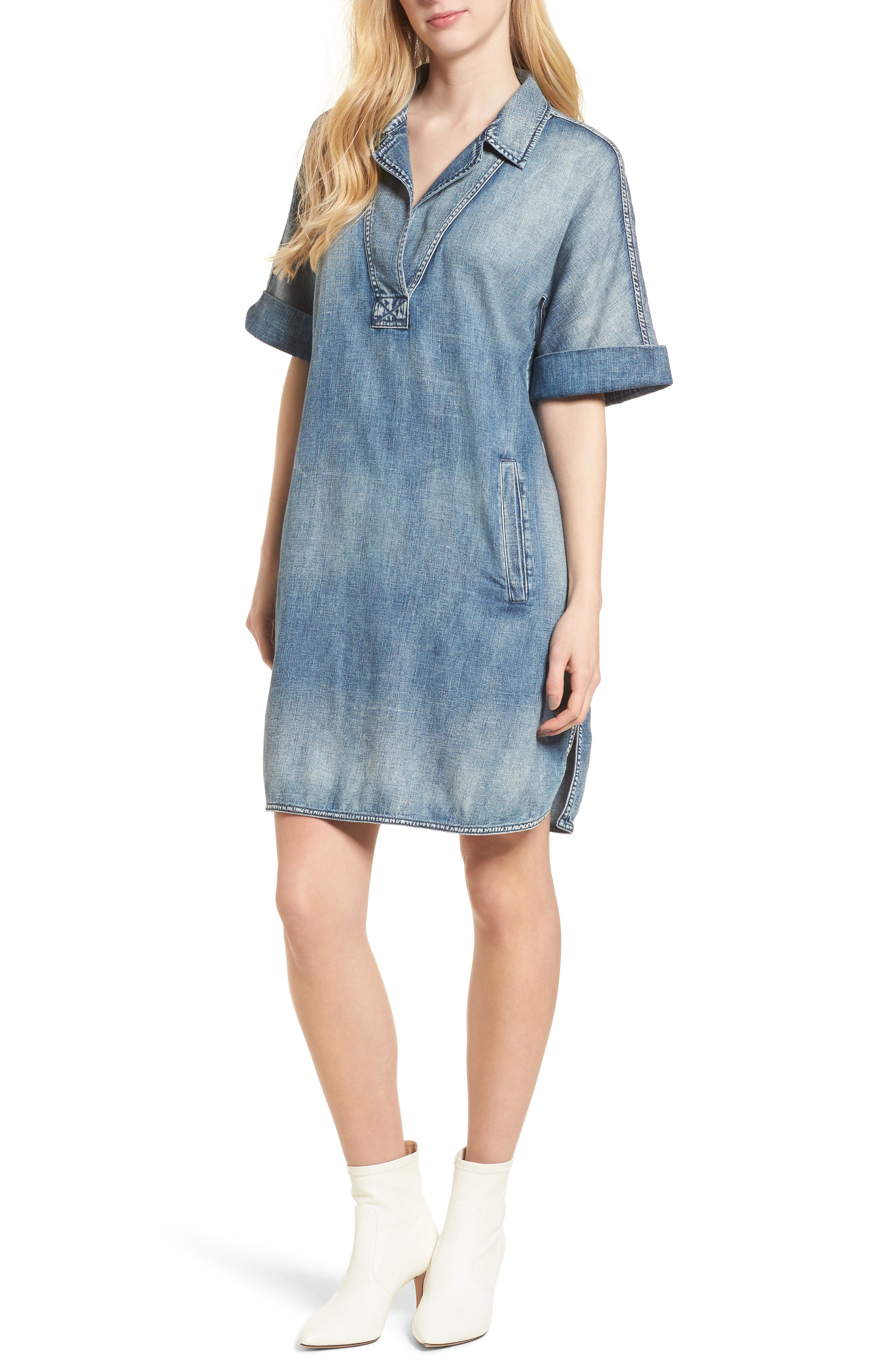 Amanda Denim Shift Dress,                         Main,                         color, Pebble Shore