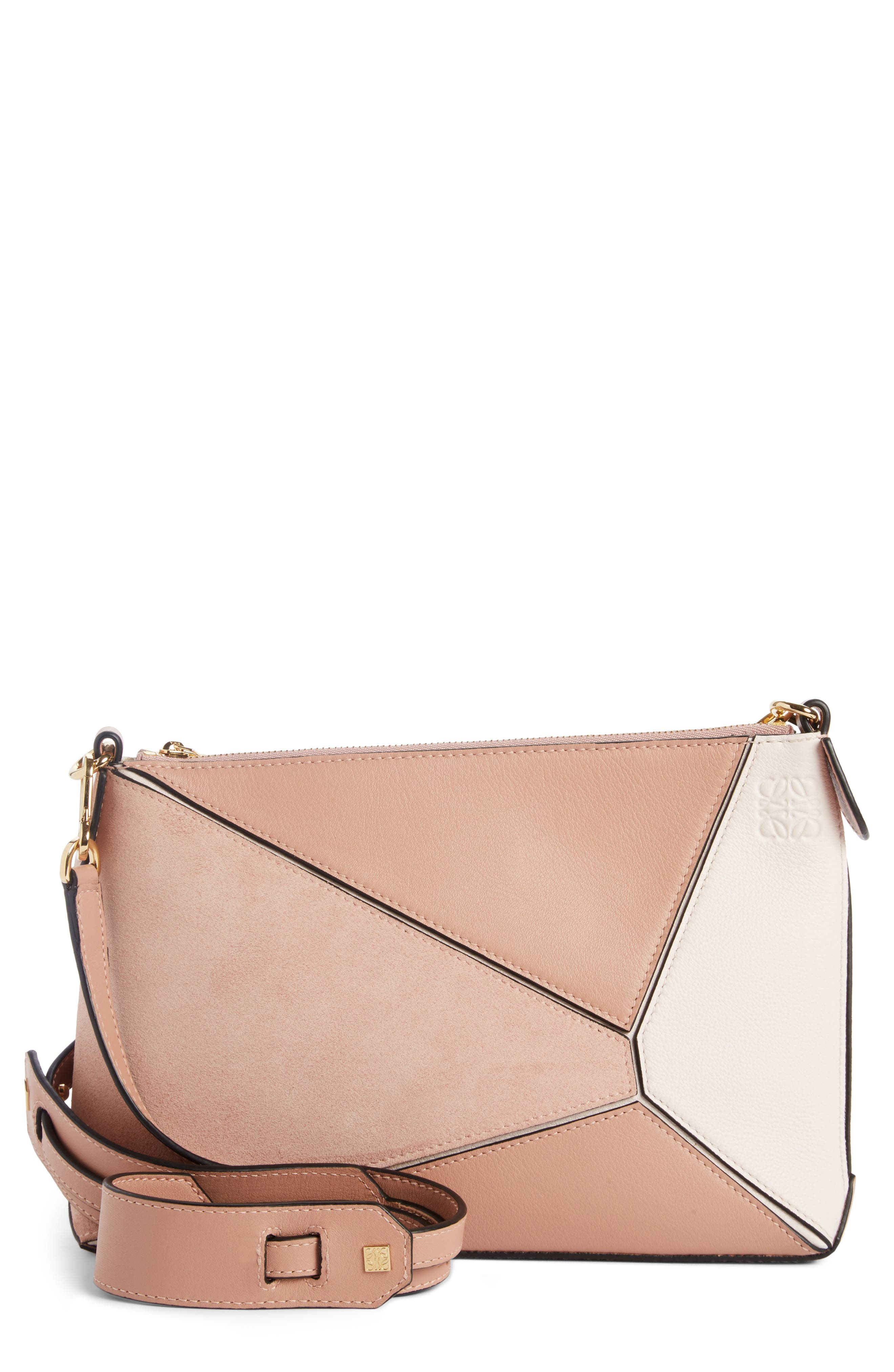 Mini Puzzle Leather Crossbody Bag,                             Main thumbnail 1, color,                             Blush Multitone