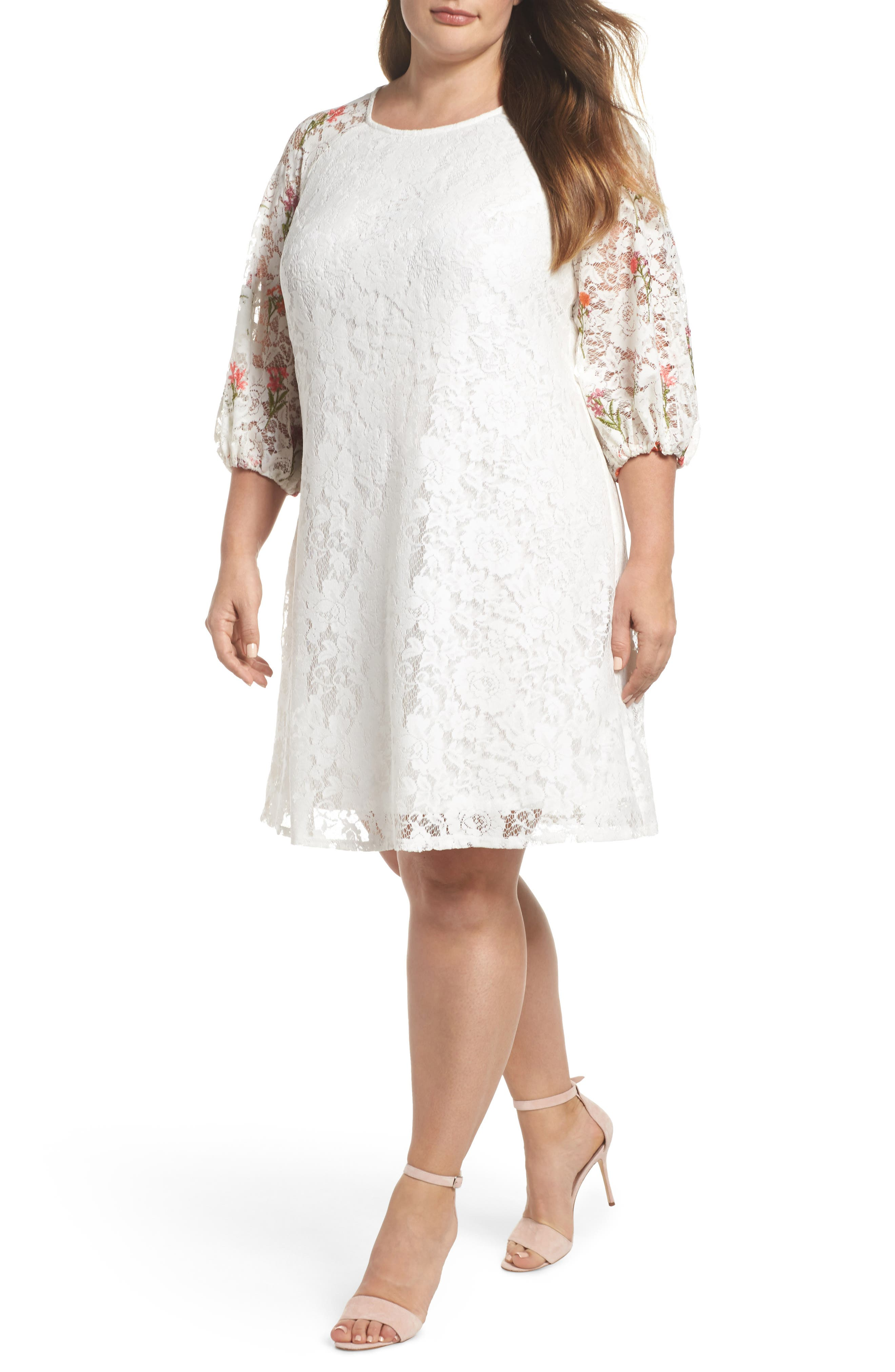 Lace Embroidered Trapeze Dress,                             Main thumbnail 1, color,                             Ivory/ Coral