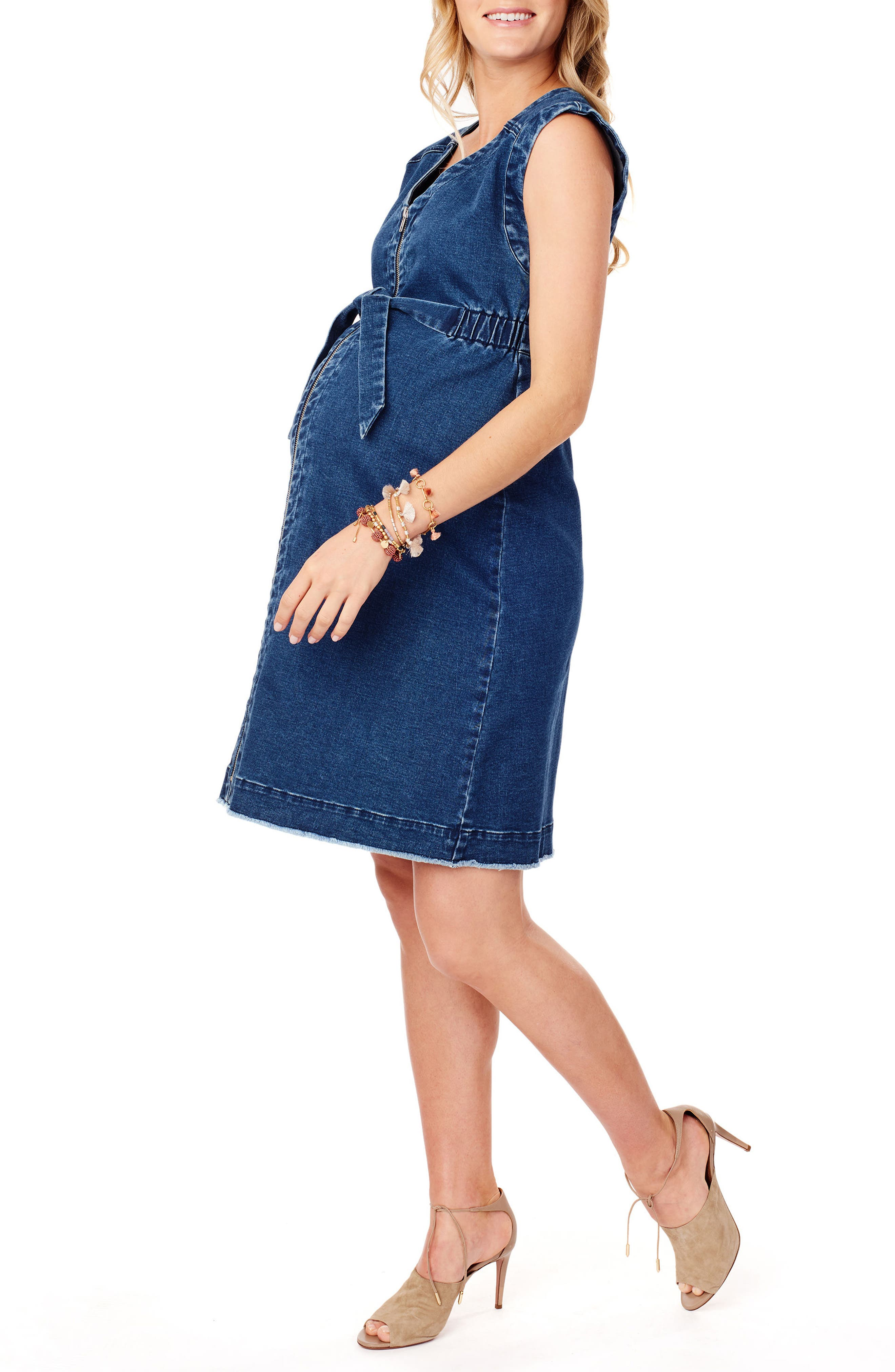 Front Zip Denim Maternity/Nursing Dress,                             Alternate thumbnail 3, color,                             Medium Wash