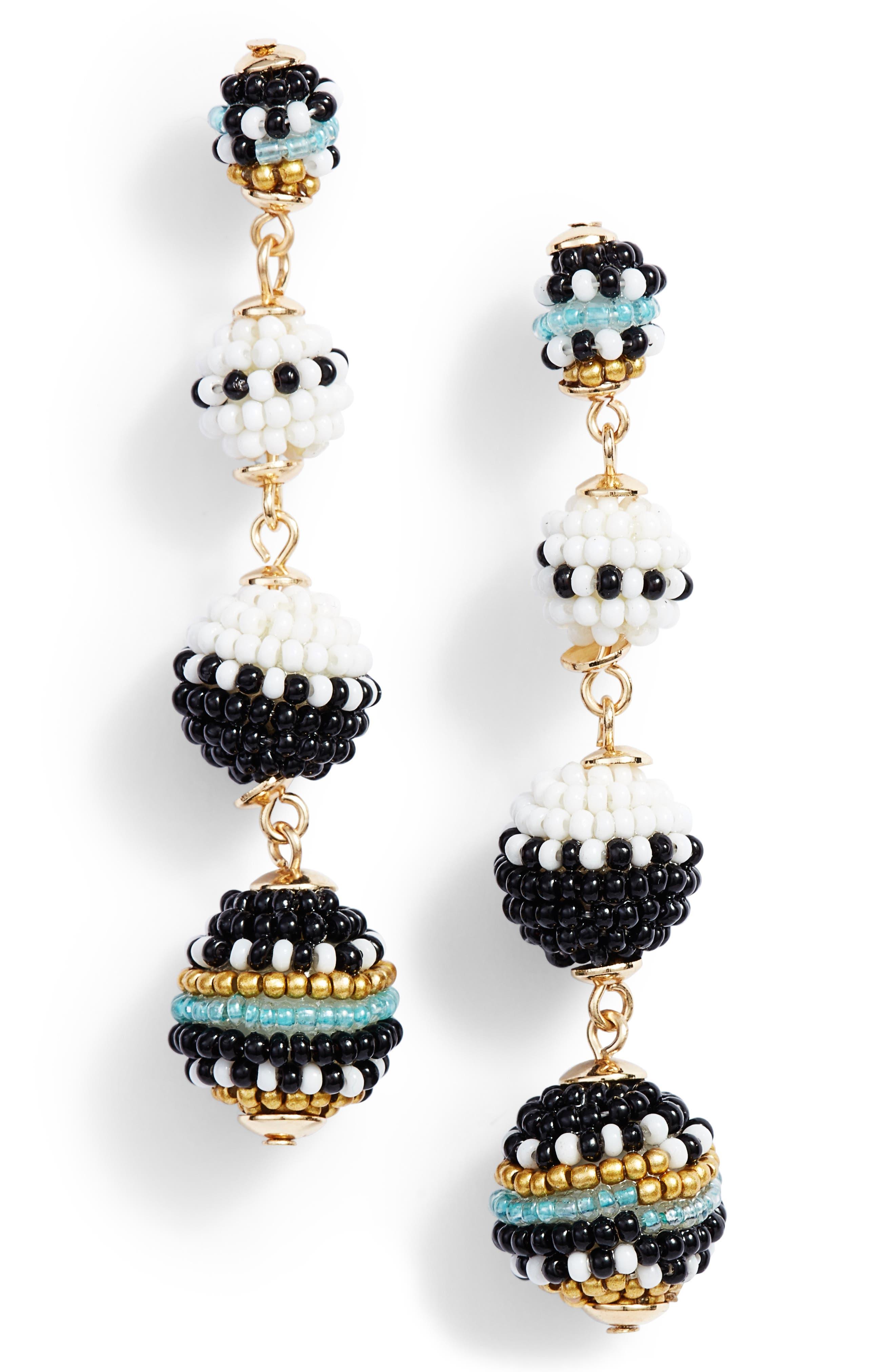 Blair Beaded Ball Drop Earrings,                             Main thumbnail 1, color,                             Black/ White Multi