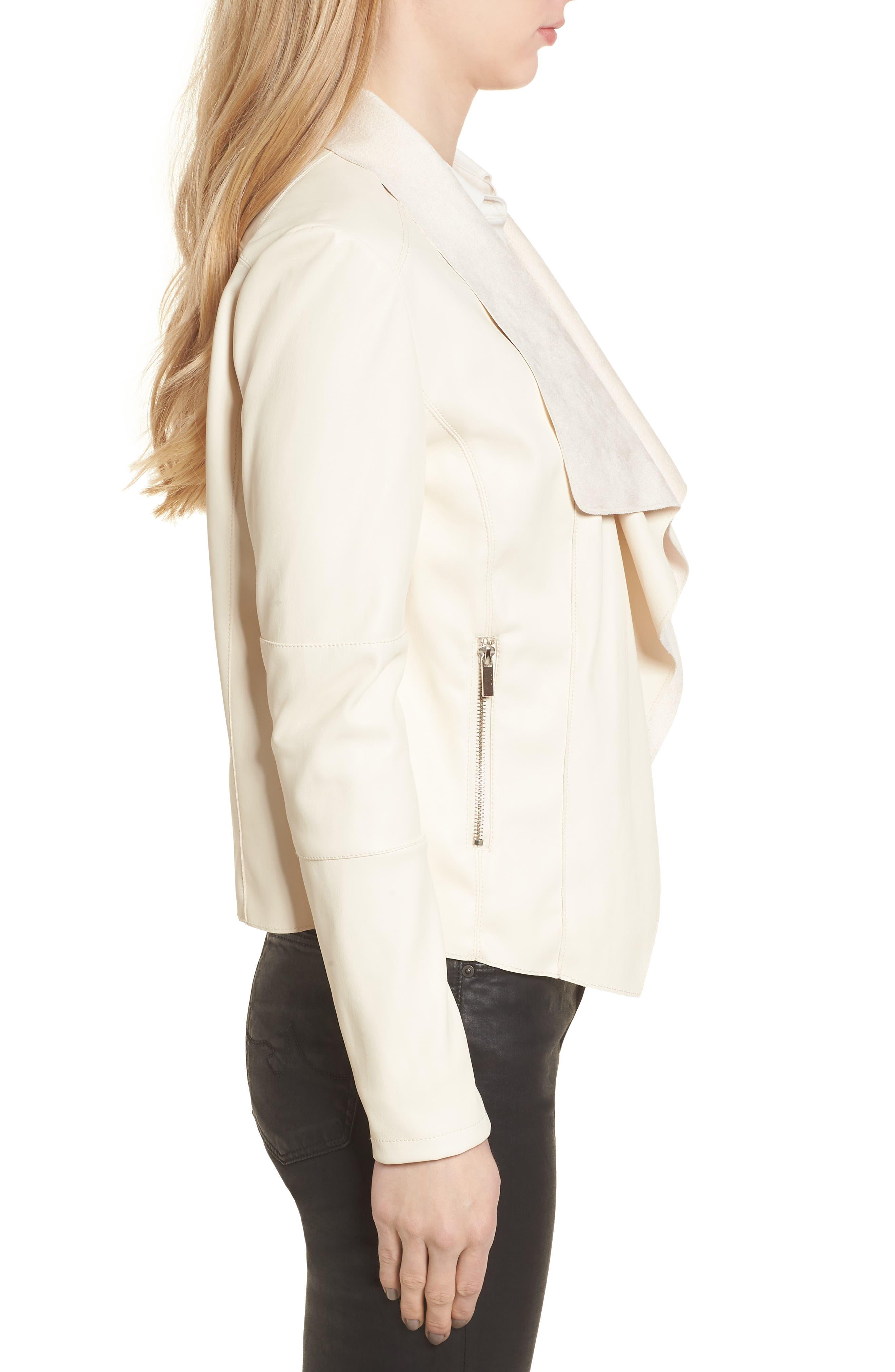 Drape Faux Leather & Faux Suede Jacket,                             Alternate thumbnail 3, color,                             Cream
